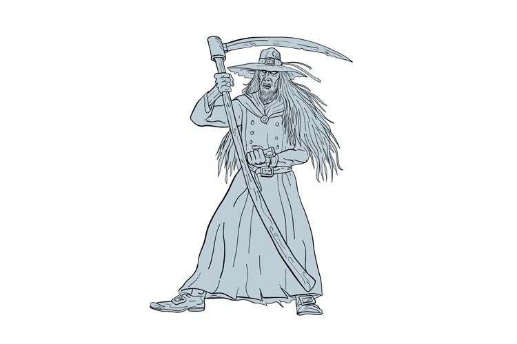 Ankou Henchman of Death With Scythe Drawing example image 1