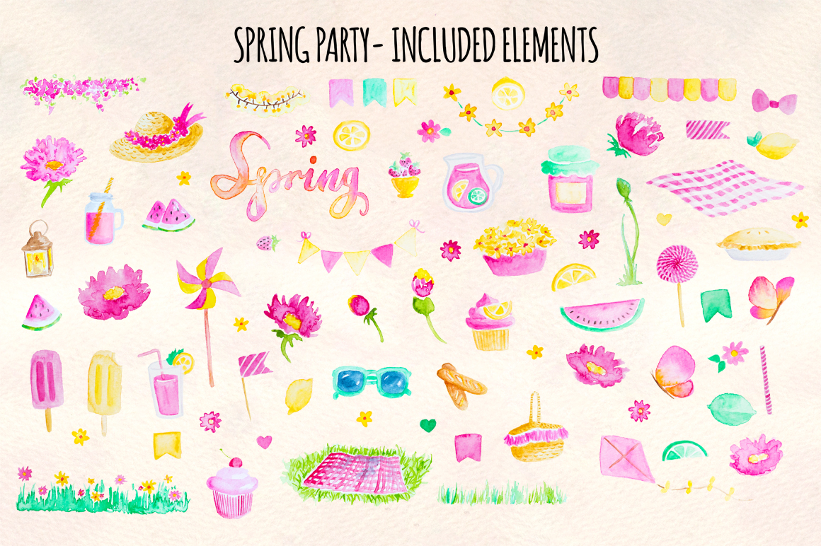 77 Spring Party Pink Lemonade Watercolor Elements example image 2