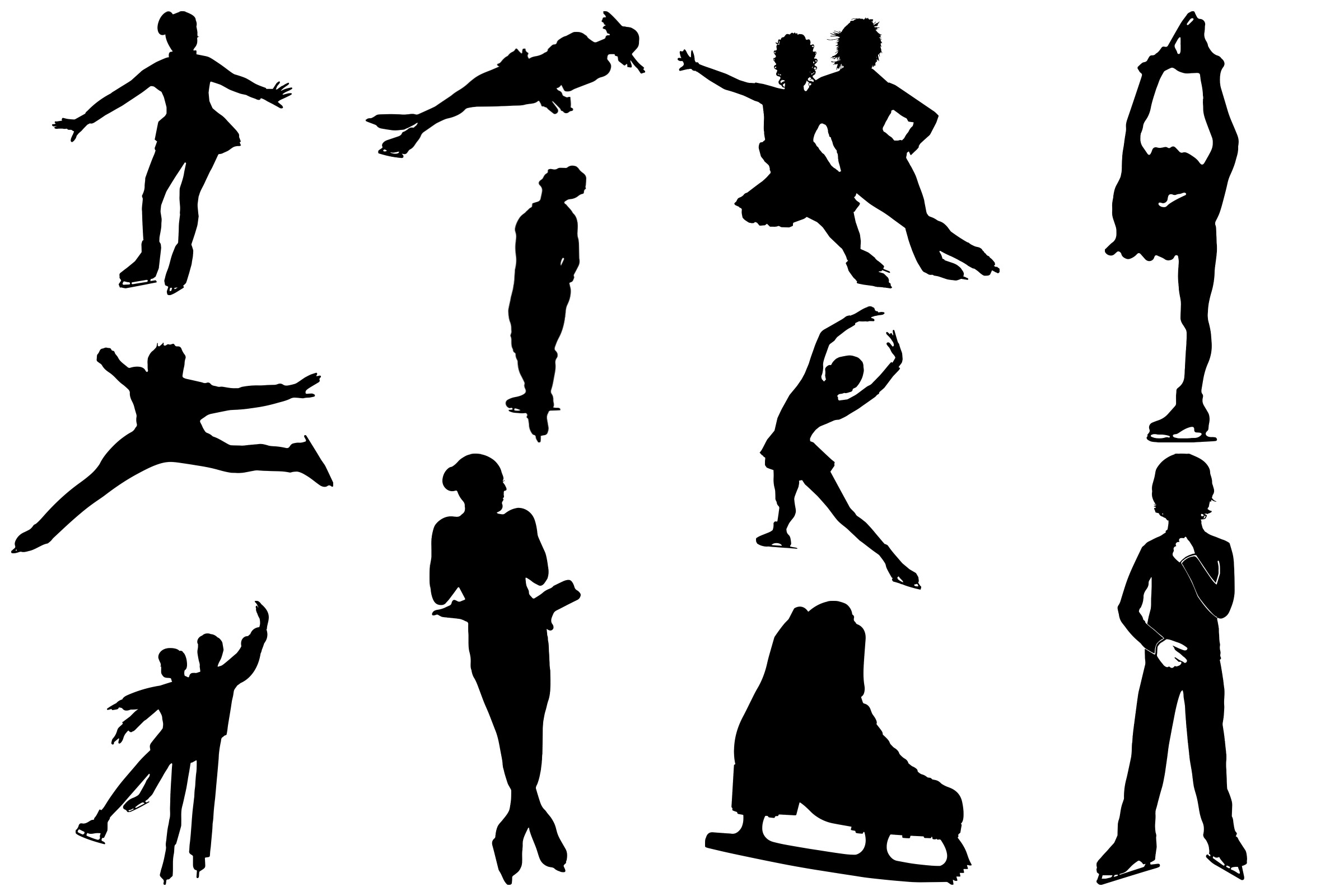 Ice Skating Silhouettes AI EPS PNG, Figure Skating example image 4