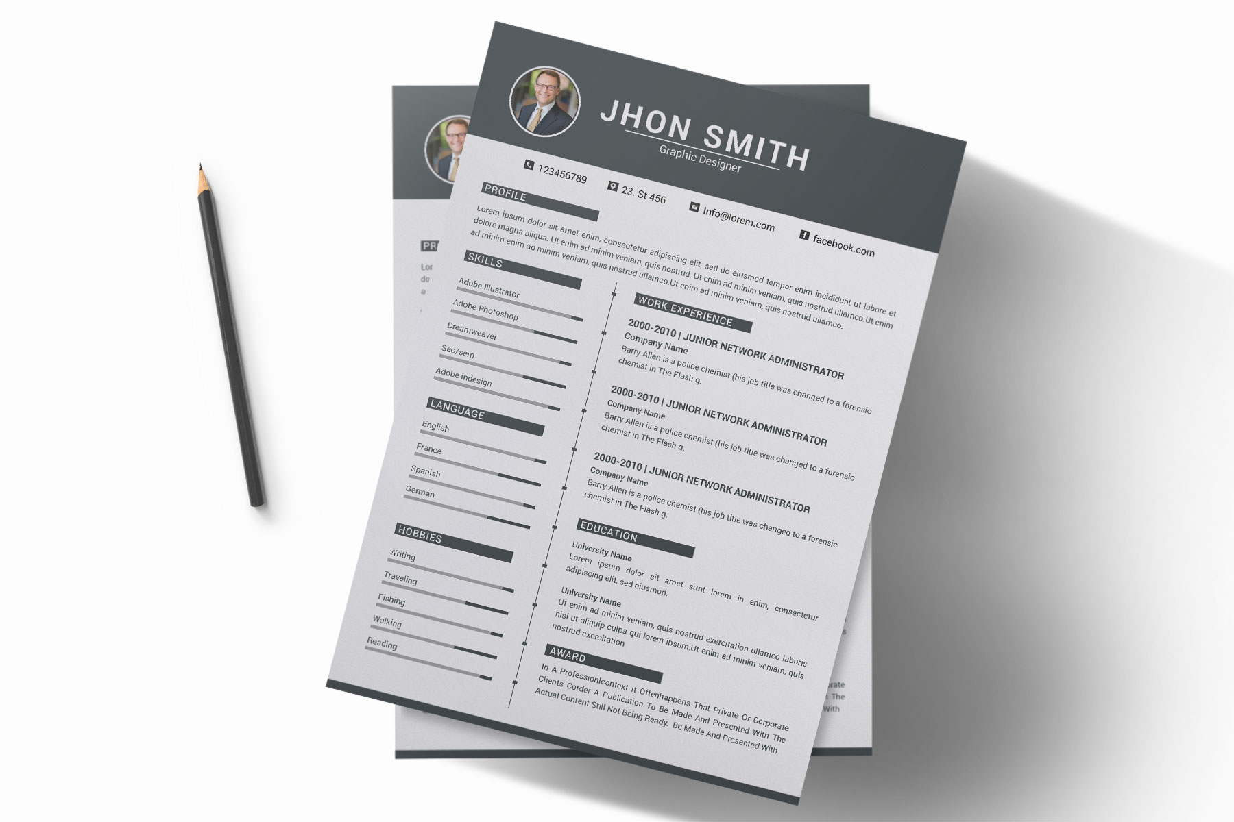 Professional Cv Resume Bonus business card Word/PSD,AI example image 9