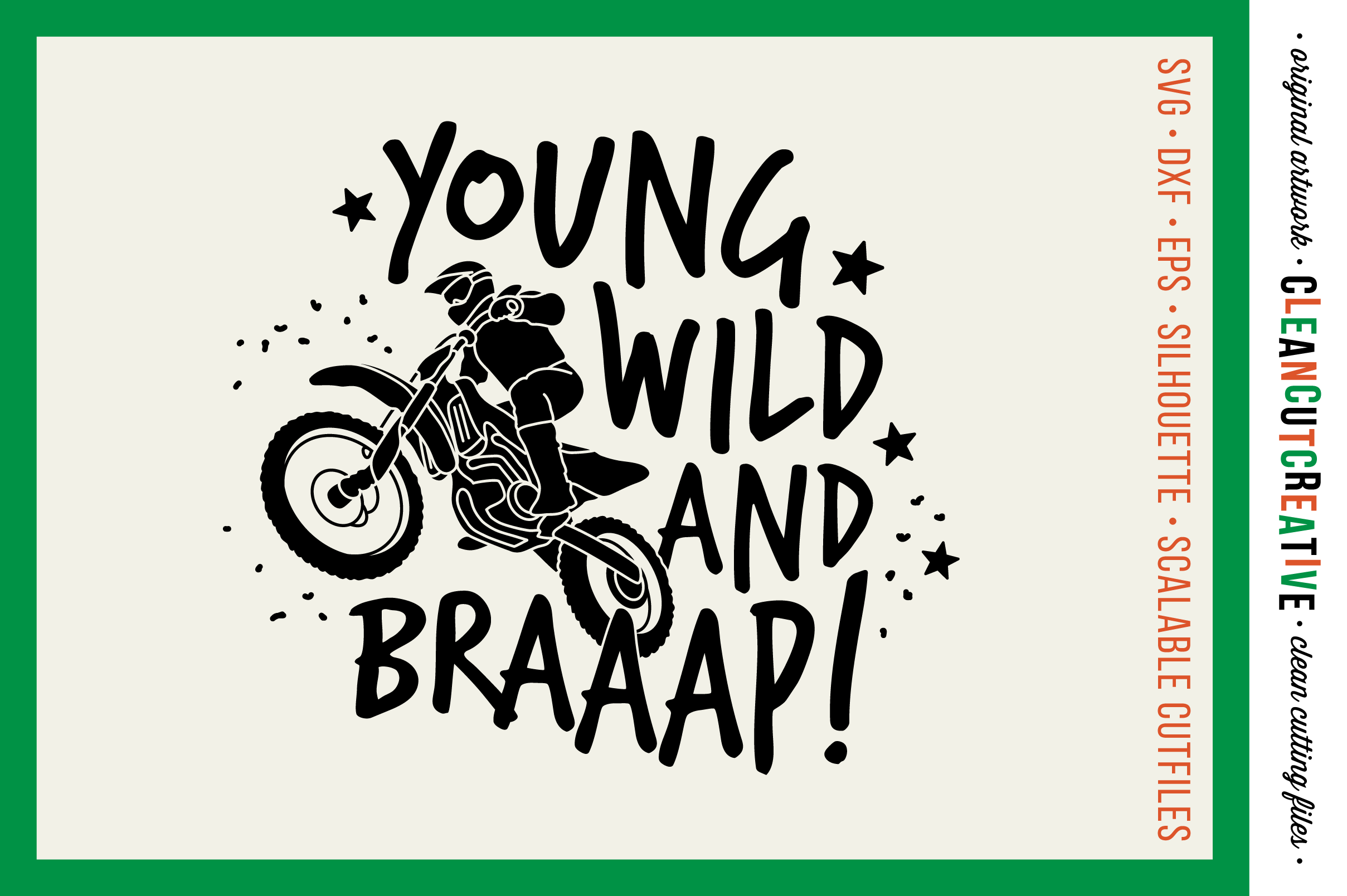 Young Wild and BRAAAP! Boys design for Motocross Dirt Bike Lovers! - SVG DXF EPS PNG - Cricut & Silhouette  example image 1