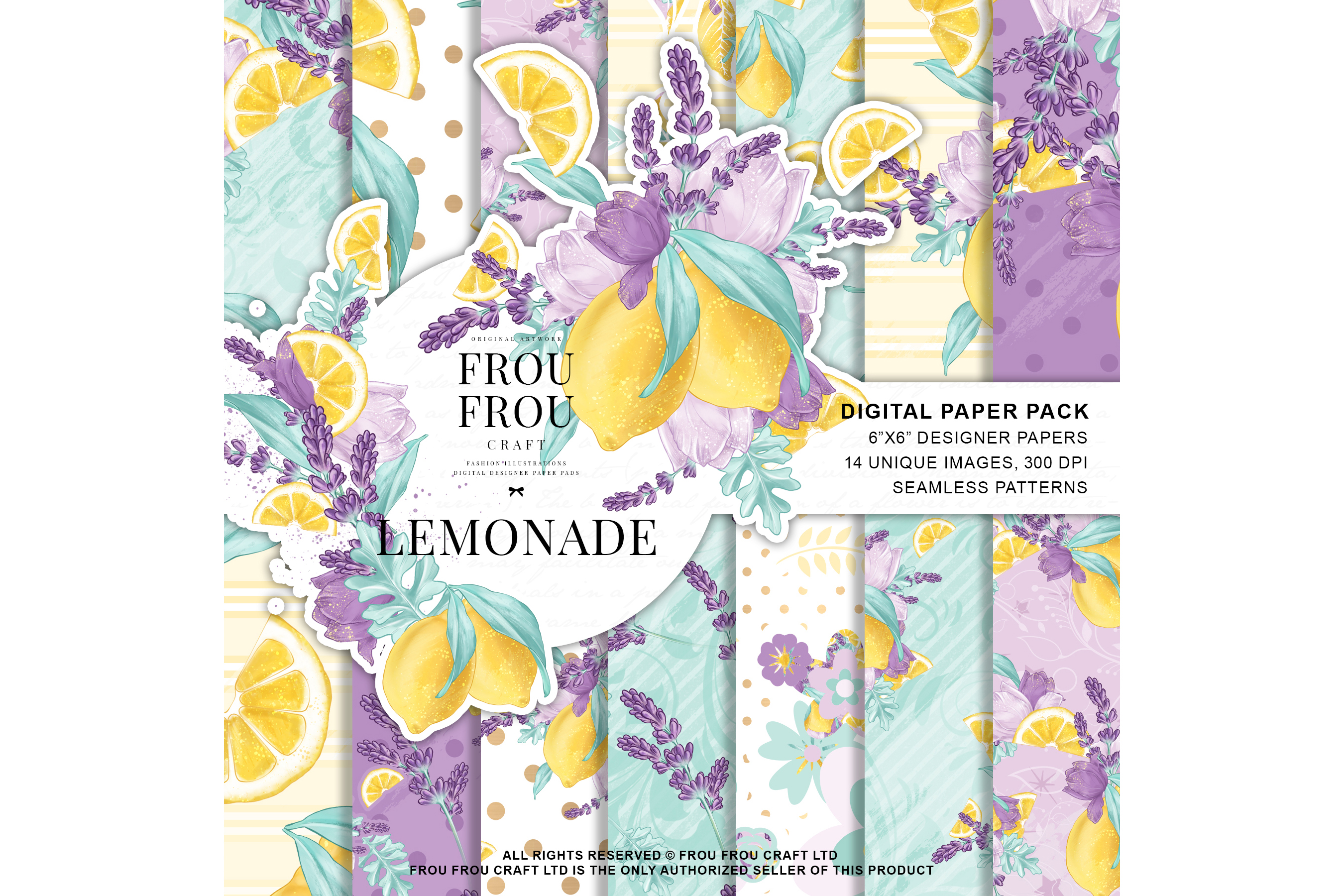 Lemons Fruits Lavender Citrus Summer Paper Pack example image 1