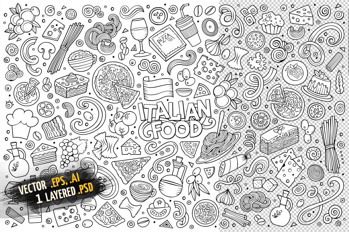 Italian Food Objects & Symbols Set example image 3