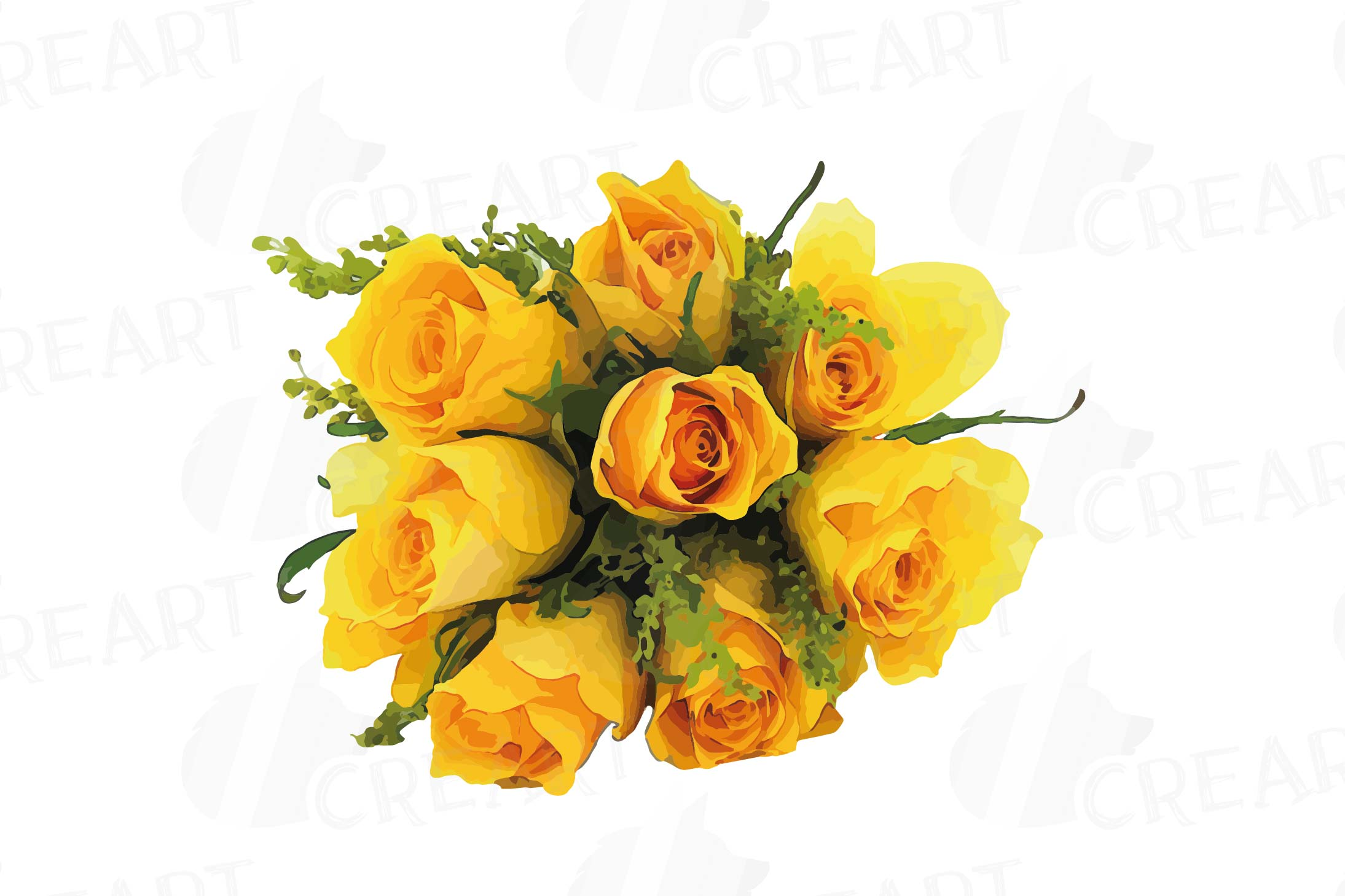 Watercolor yellow flowers and green leaves clip art pack example image 11