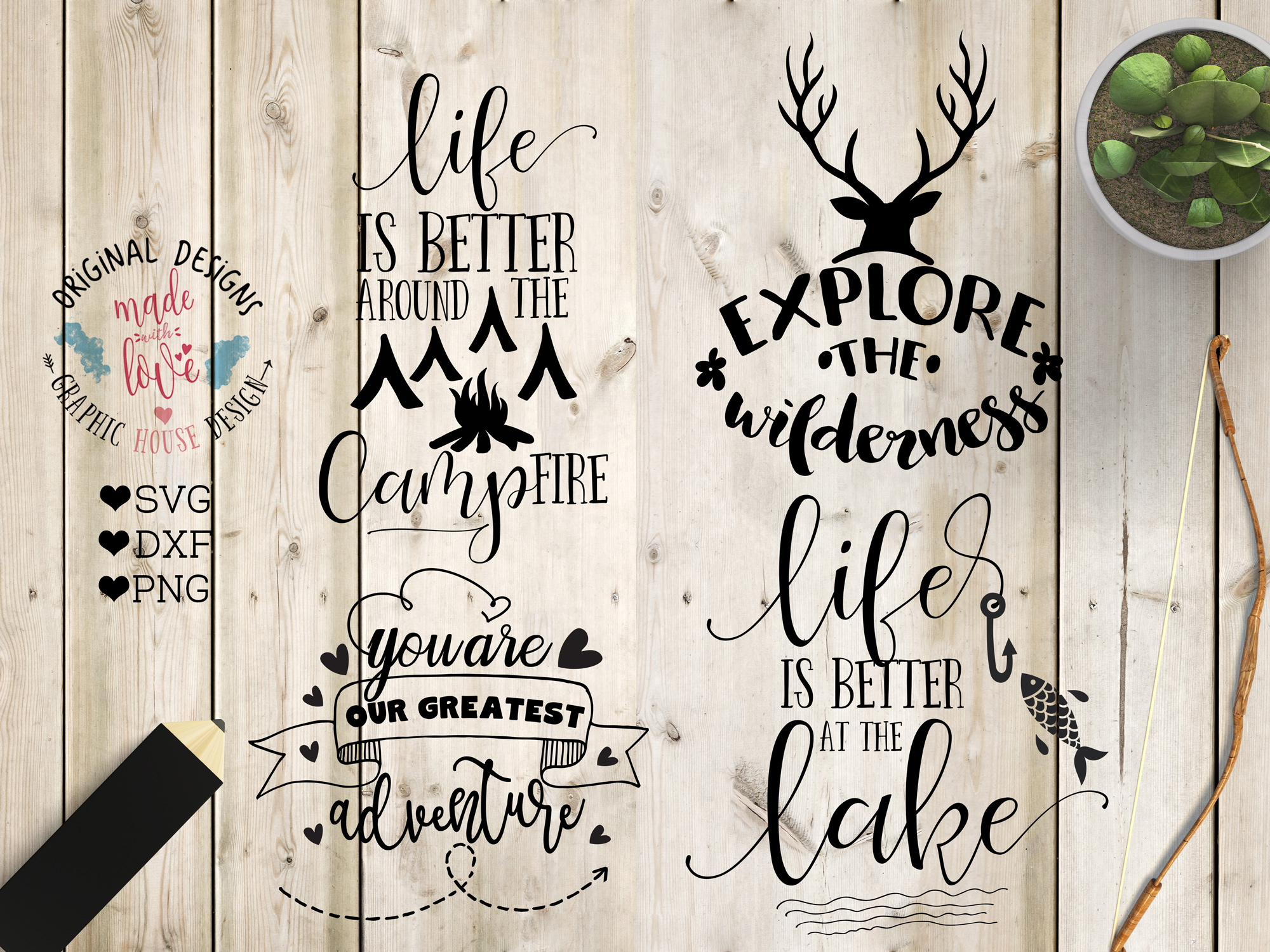 Adventure/Camping Cutting Files Bundle SVG, DXF, PNG example image 3