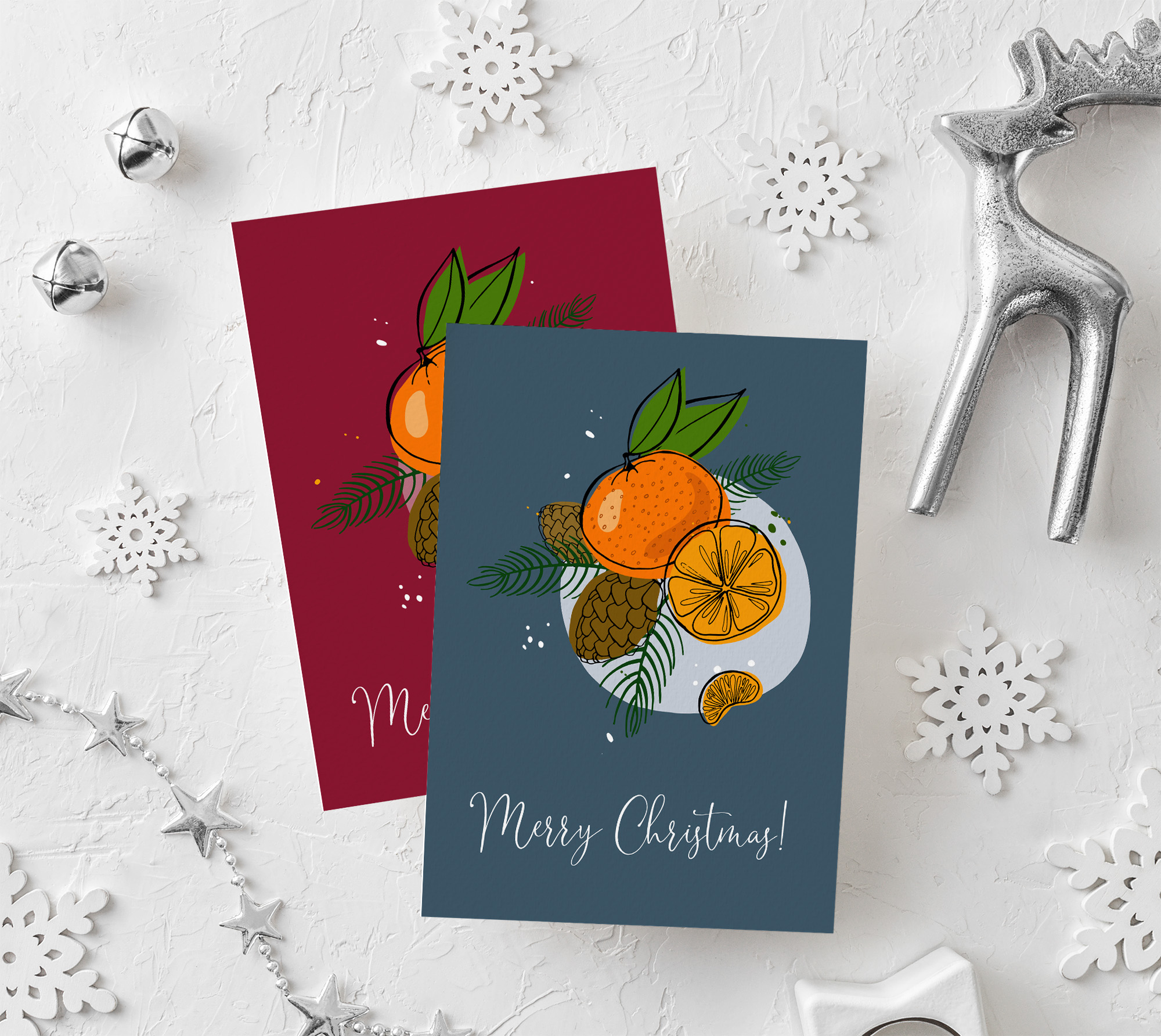 Tangerines Christmas Vector Clipart example image 6
