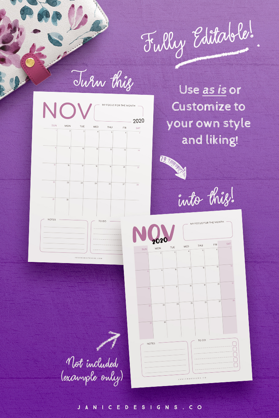 2020 Calendar InDesign Template for Commercial Use example image 4