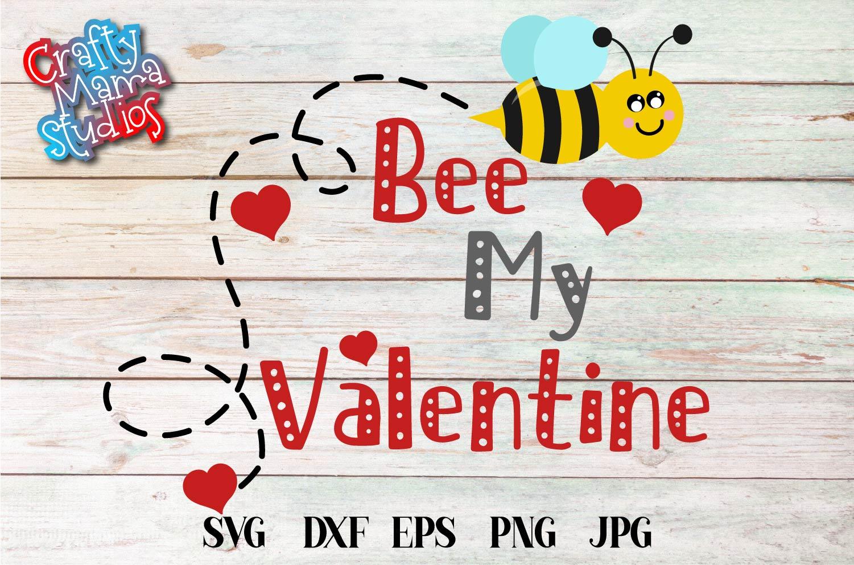 Valentine's Day SVG Valentine Bee My Valentine EPS, JPG, DXF example image 2