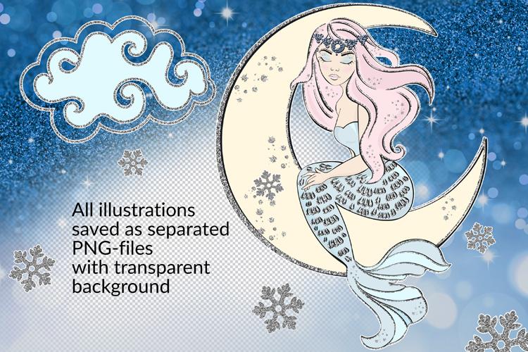 ICE MERMAID Glitter Christmas Illustration Set example image 3