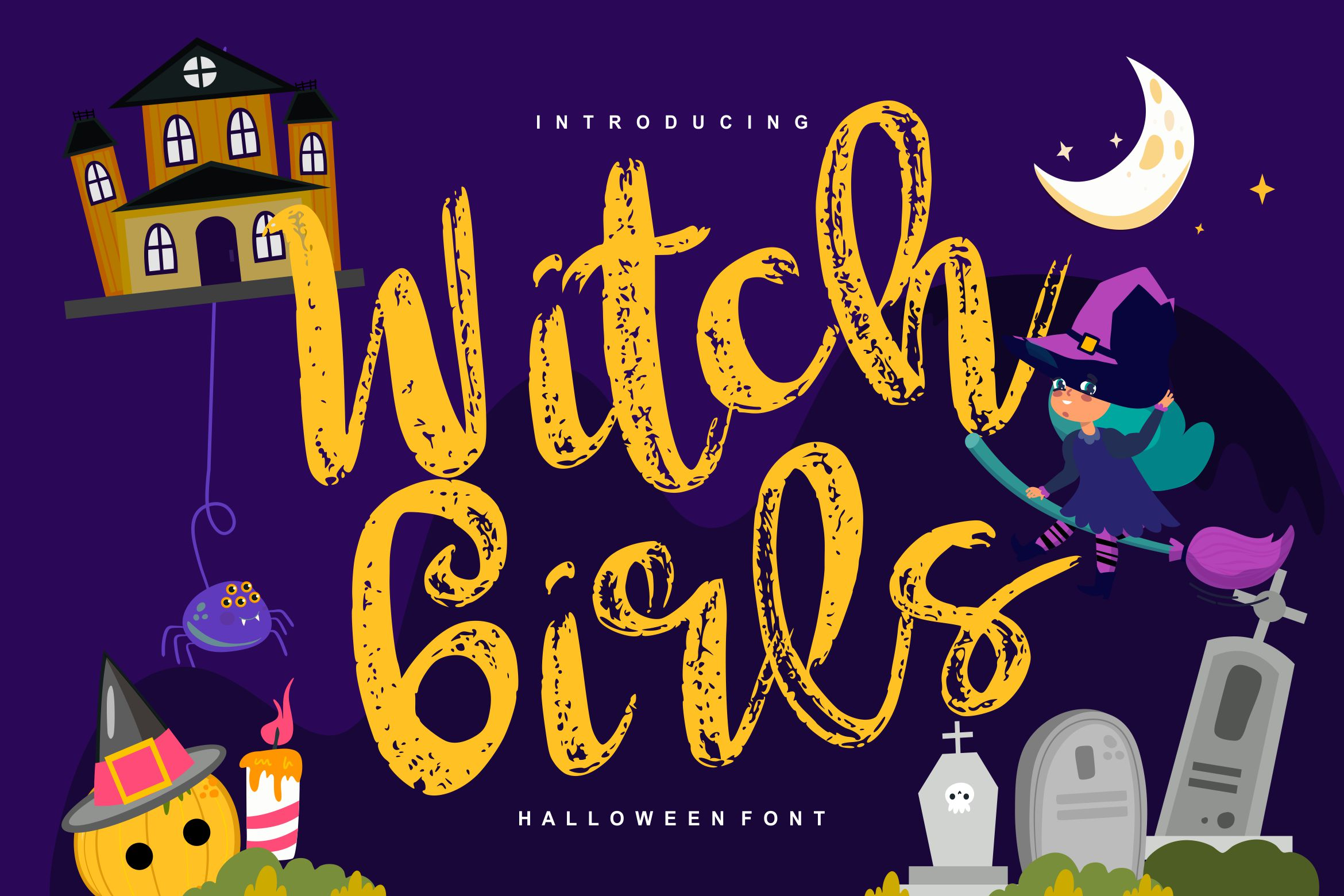 Witch girls | Script Halloween Font example image 1