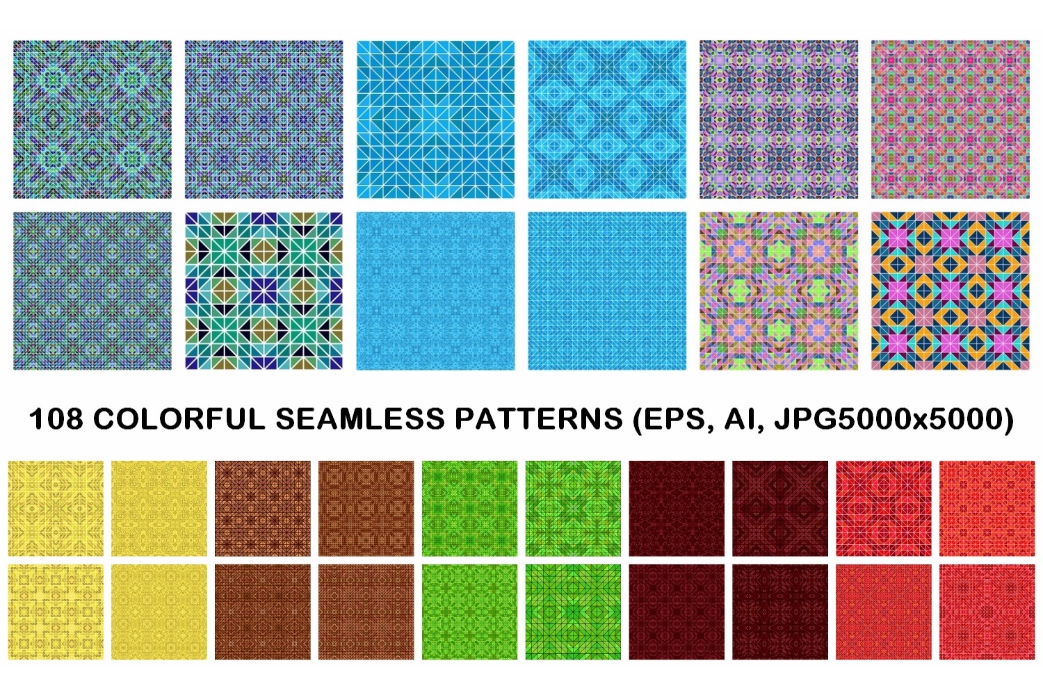 108 colorful seamless kaleidoscope triangle patterns (AI, EPS, JPG 5000x5000) example image 1