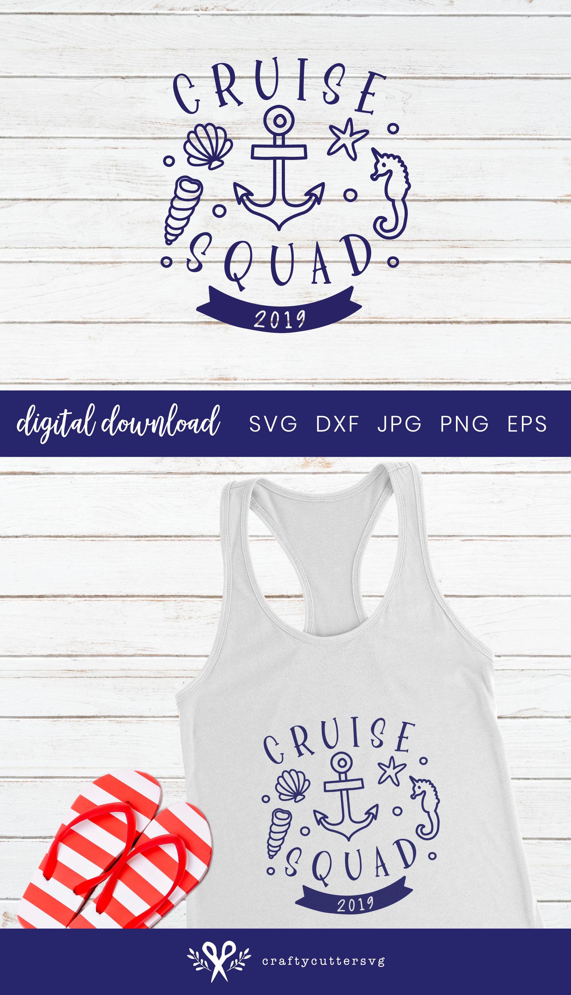 Cruise squad 2019 Svg Cut File Anchor Seahorse Clipart example image 3