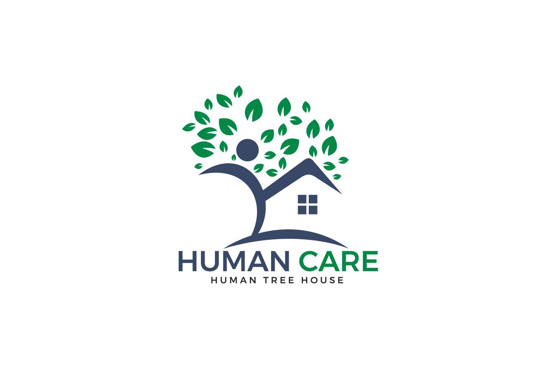 Human Care Logo Design. Tree House and joyful Human Icon. example image 1