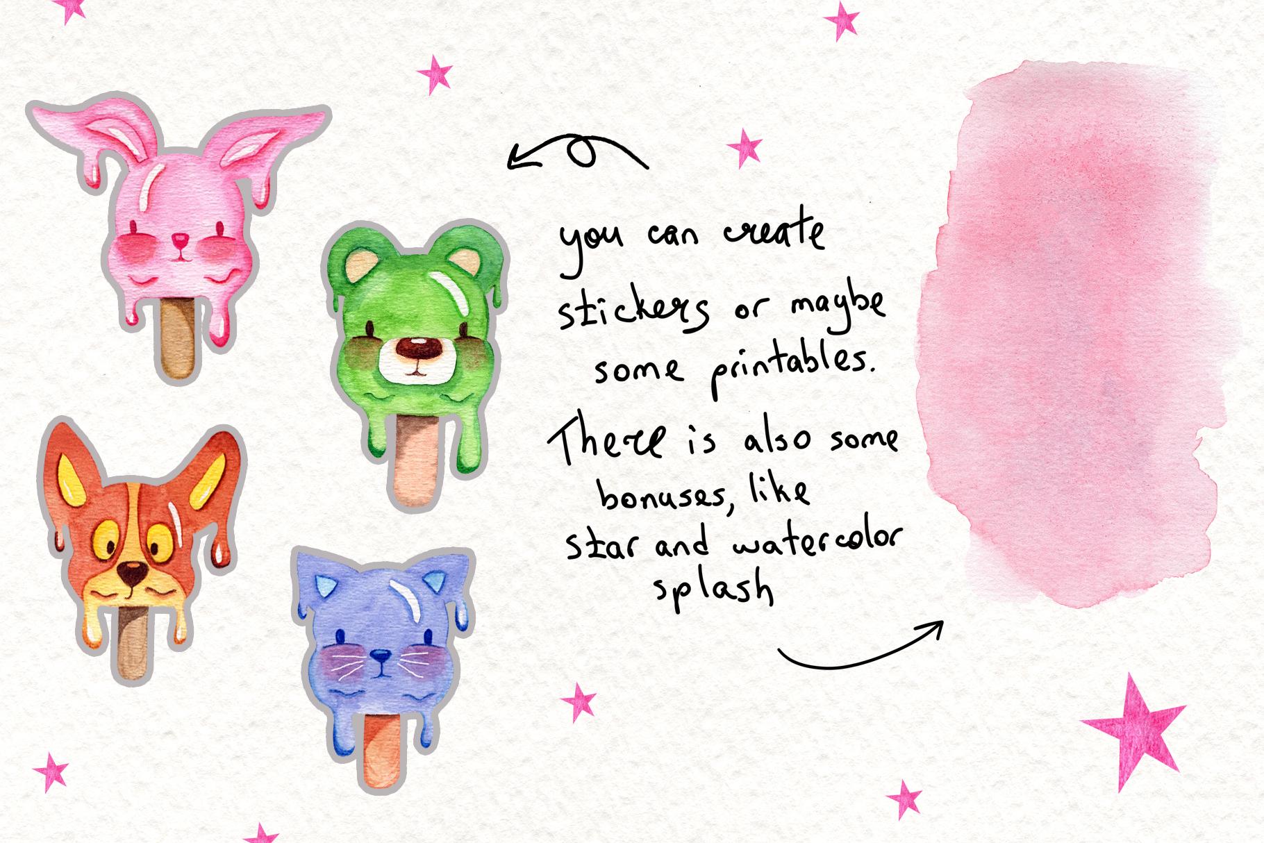 Watercolor Ice Cream Animals example image 2