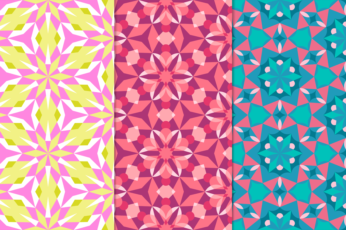12 Kaleidoscope Seamless Patterns example image 5