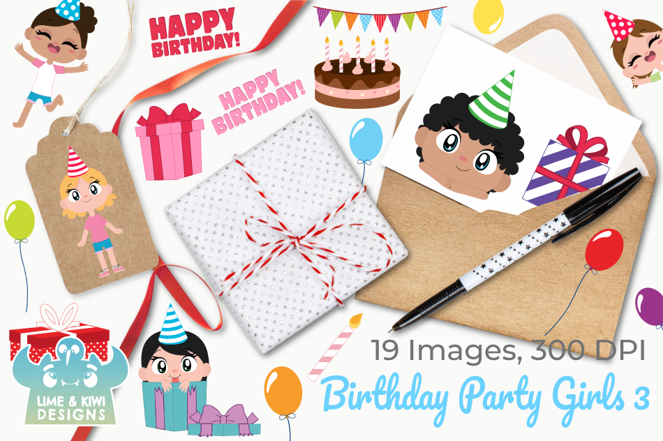 Birthday Party Girls 3 Clipart, Instant Download Vector Art example image 4