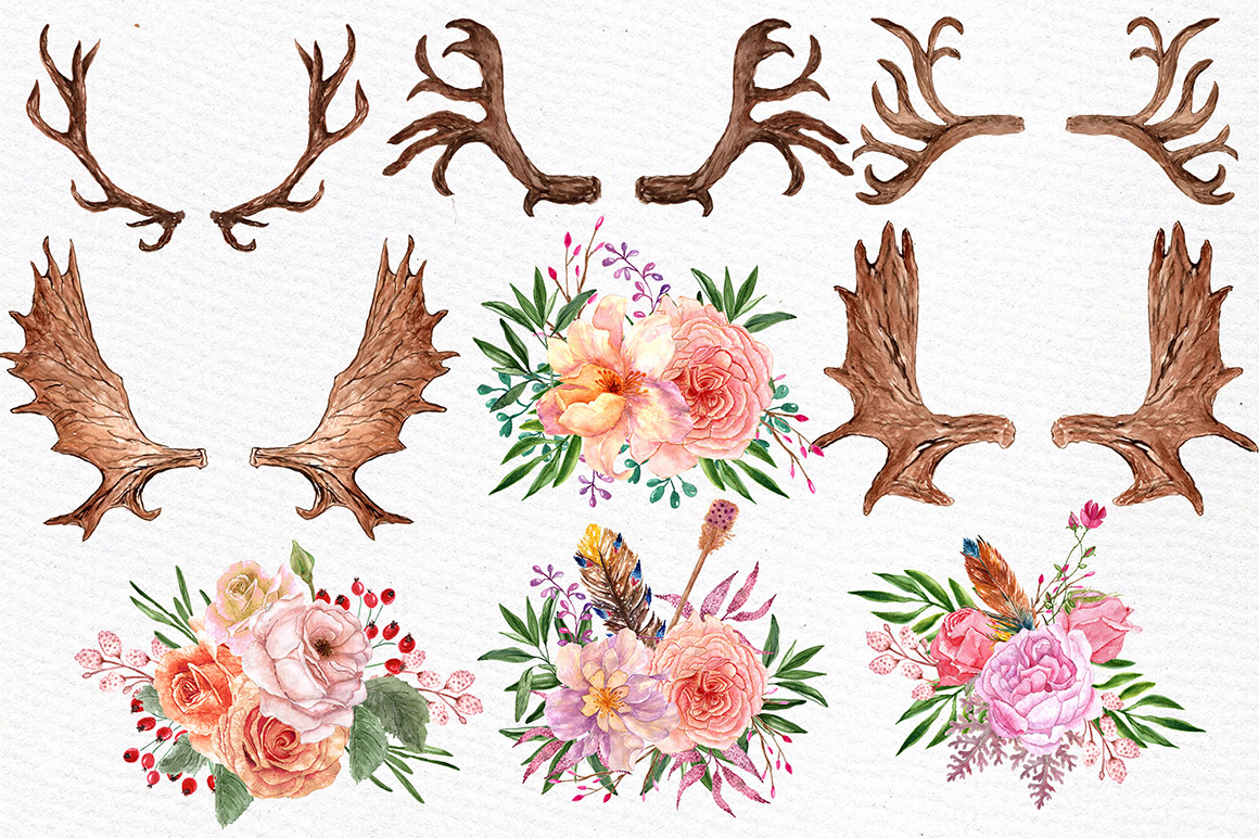 Watercolor floral antlers clipart example image 2
