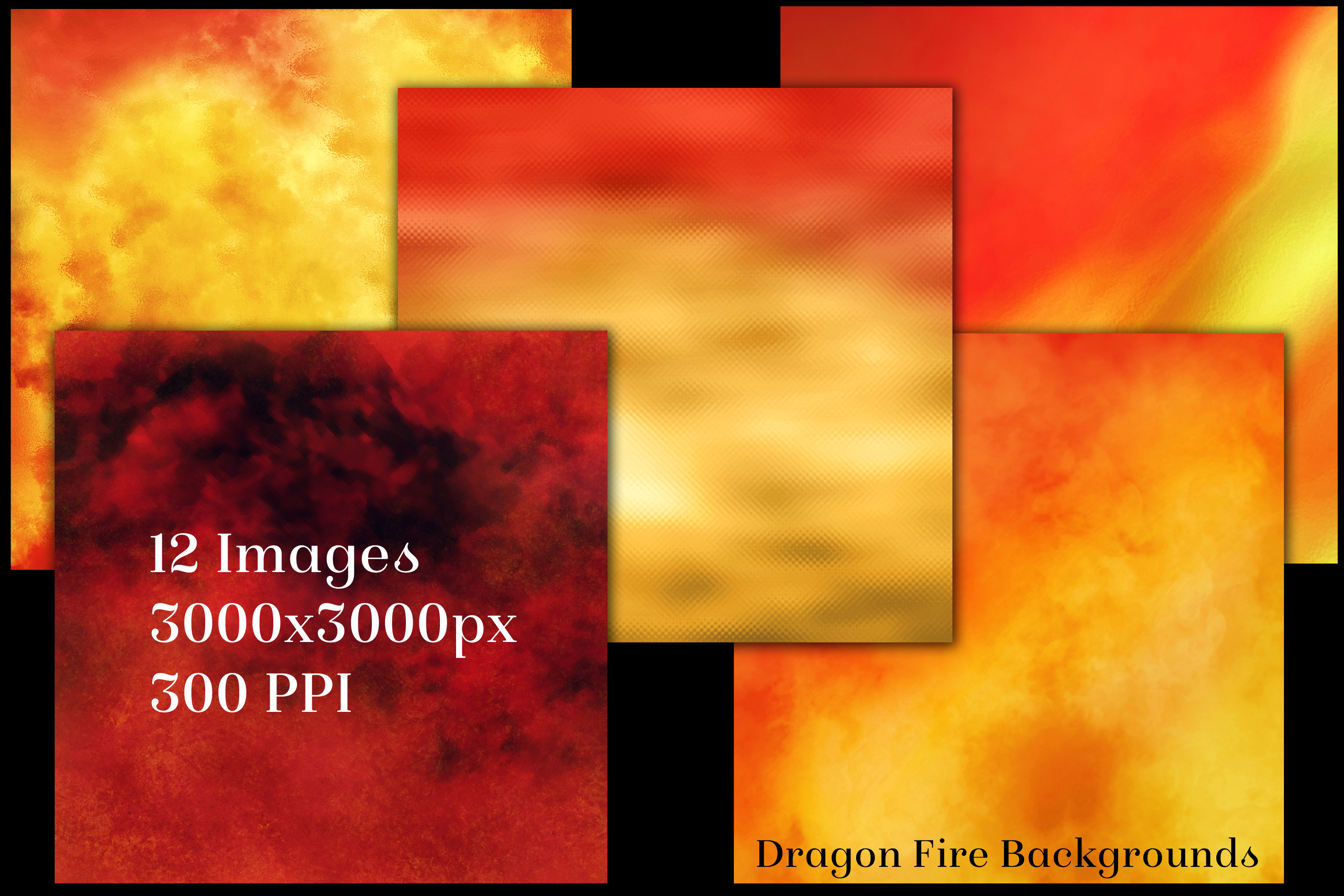 Dragon Fire Backgrounds - 12 Image Textures Set example image 2