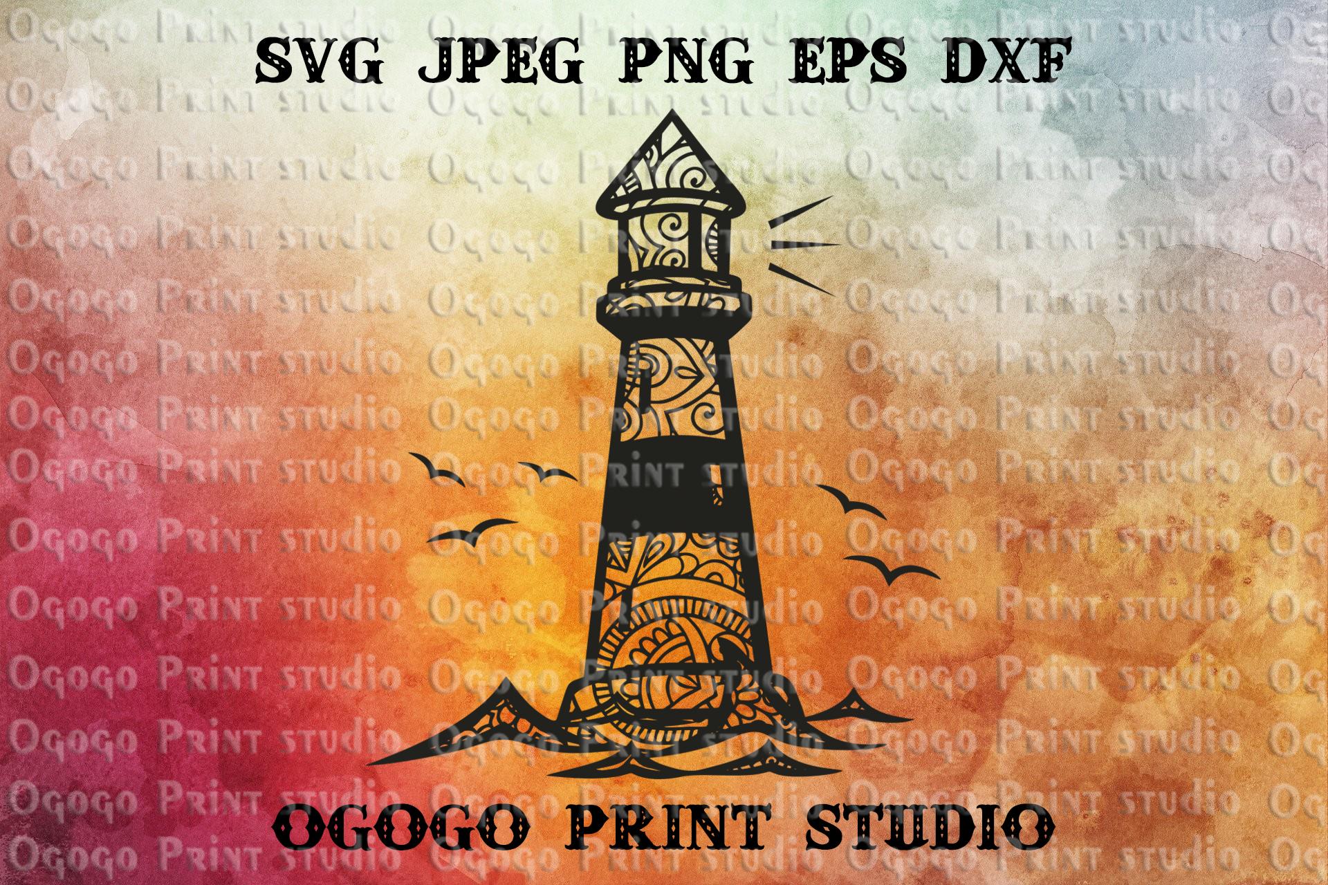 Lighthouse SVG, Zentangle SVG, Sea Mandala svg, Ocean svg example image 1