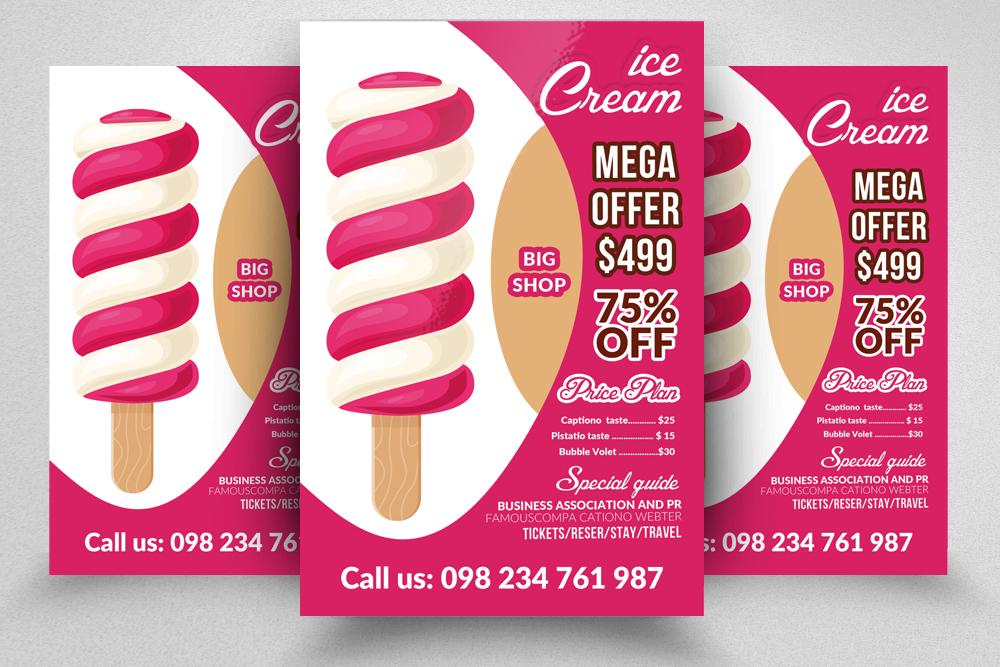 10 Ice Cream Discount Flyer Template Bundle example image 4