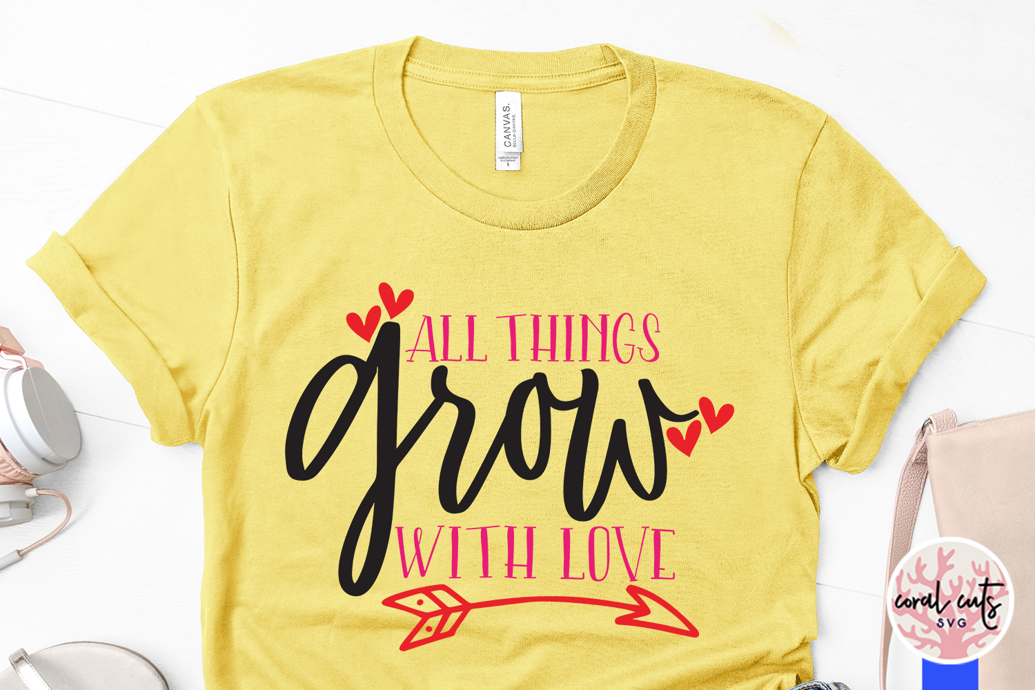 All things grows with love - SVG EPS DXF PNG File example image 3