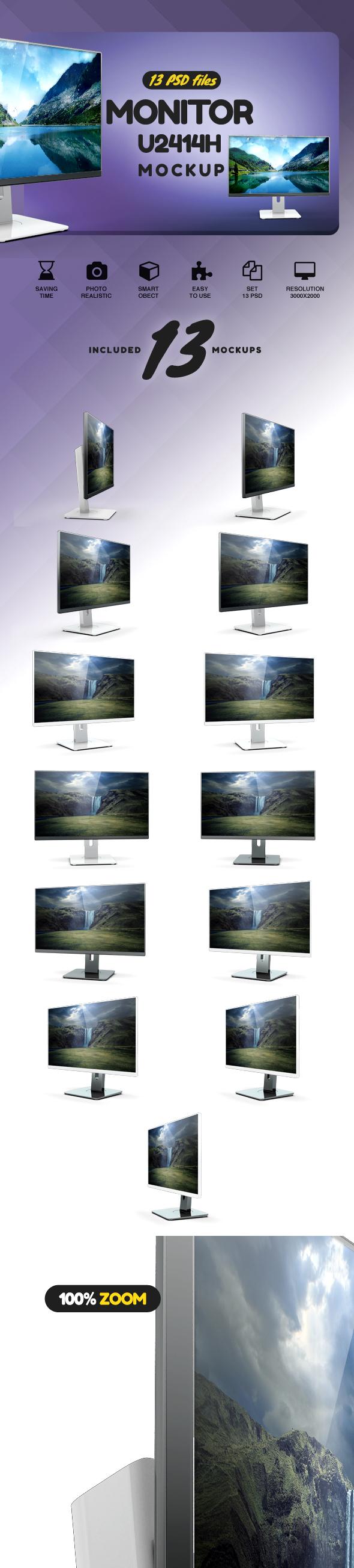 Monitor U2414h Mockup example image 2