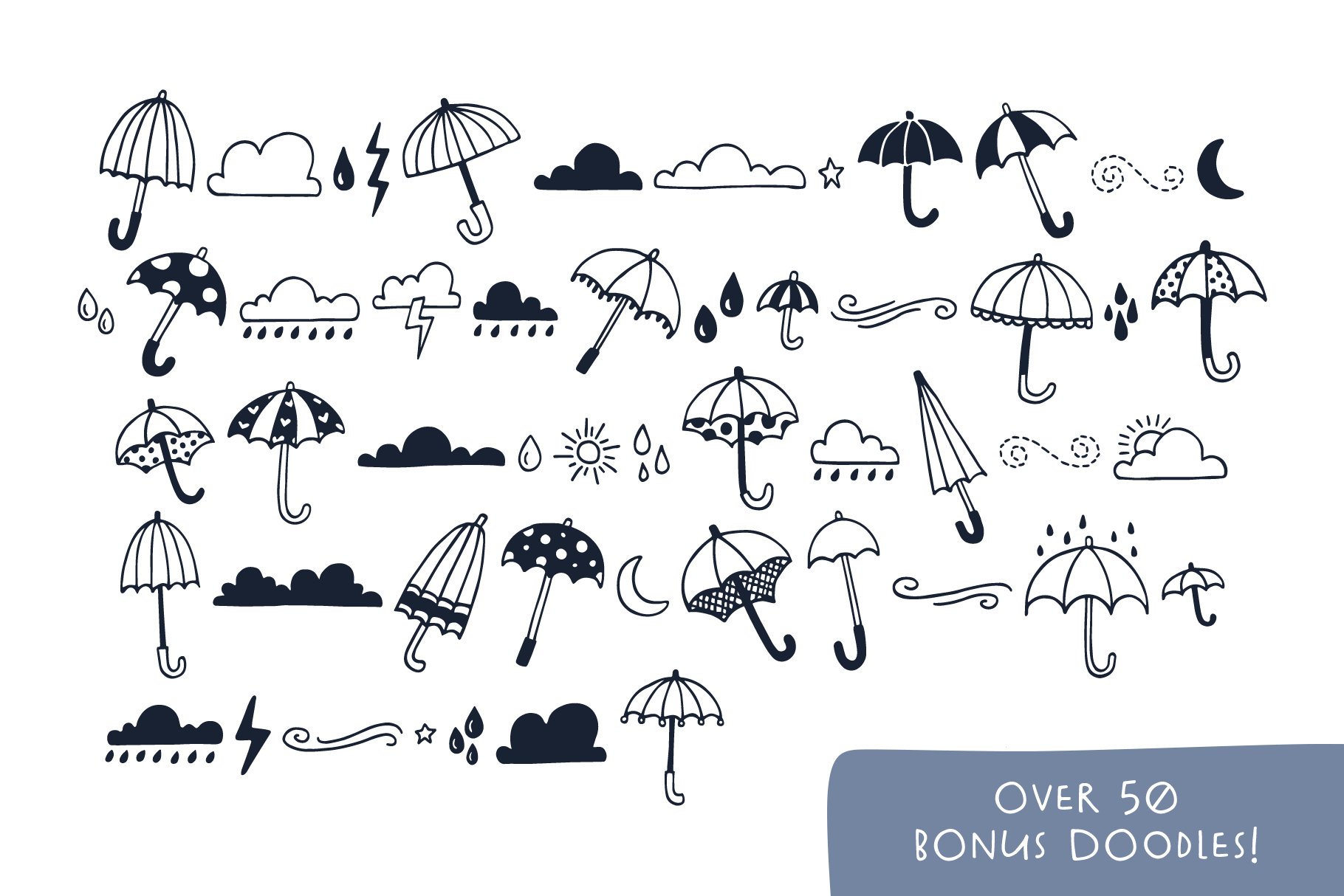Spring Showers Font and Doodles example image 7