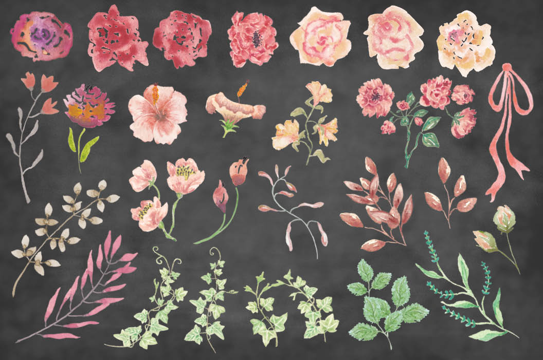 Watercolor clip art bundle: Vintage roses example image 8