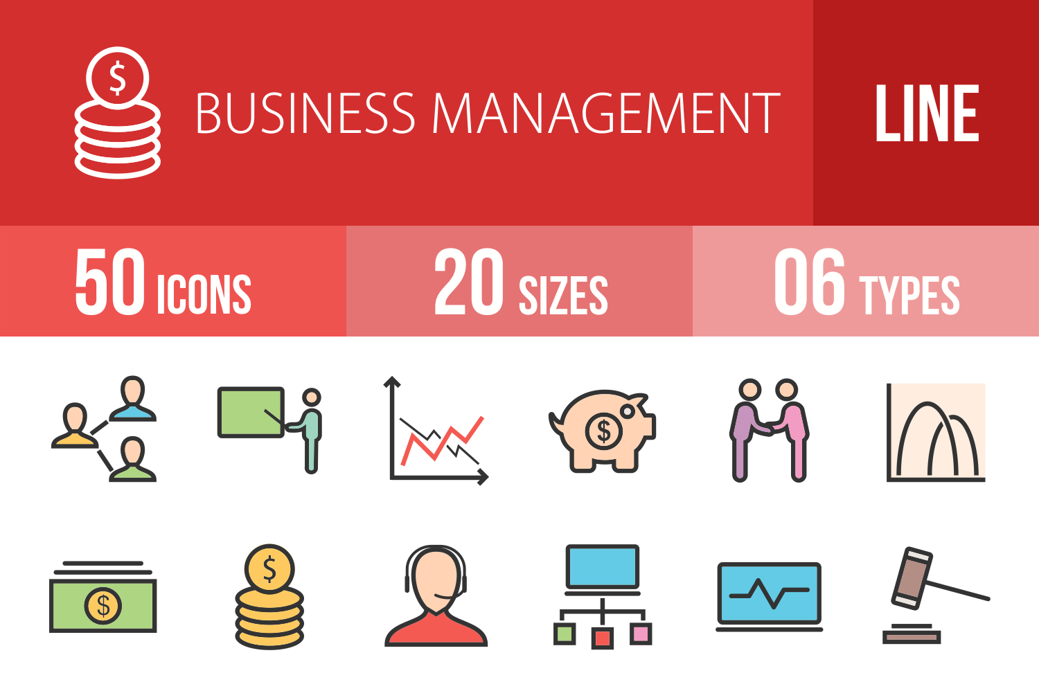 50 Business Management Linear Multicolor Icons example image 1