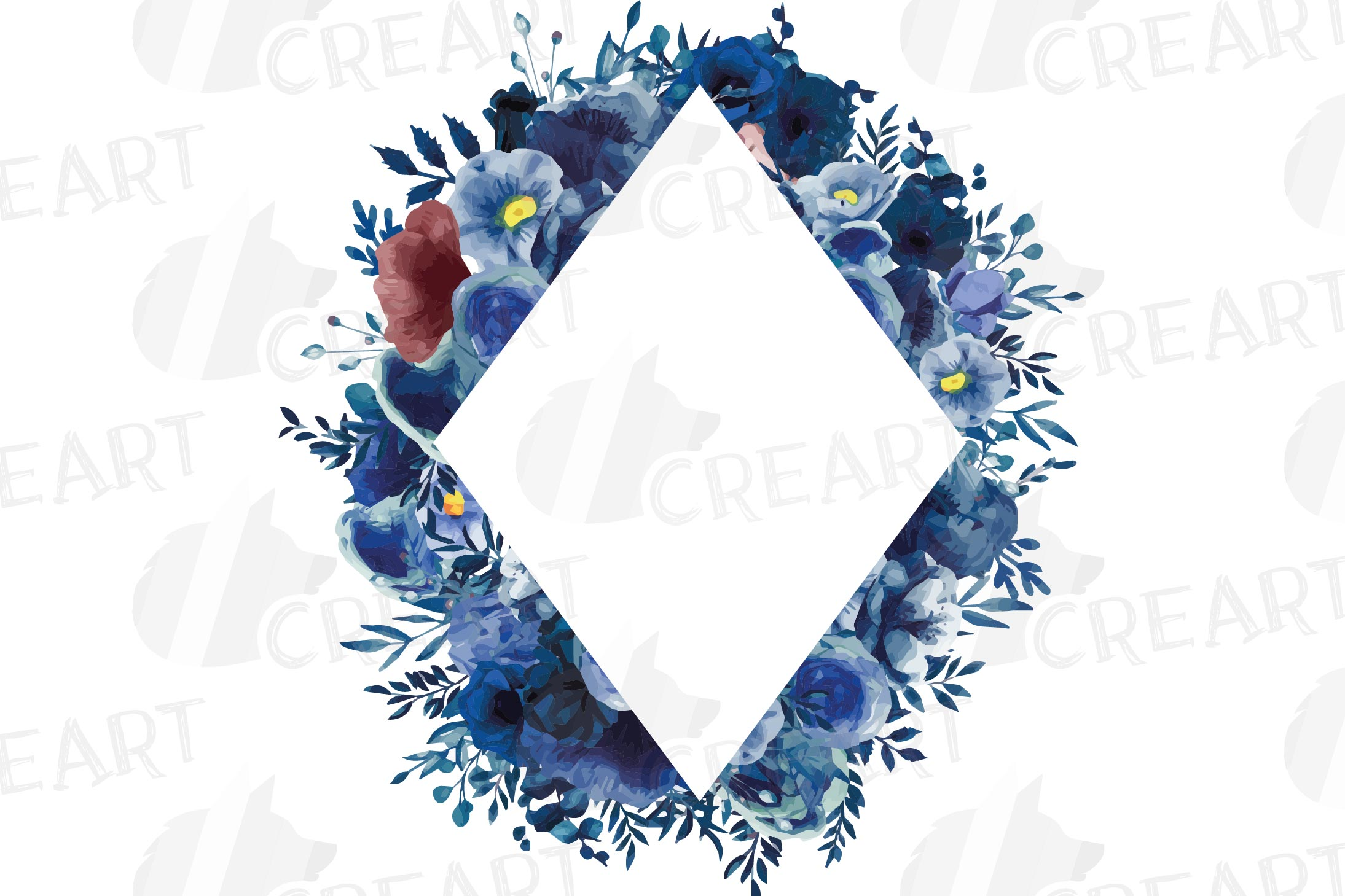 Watercolor elegant navy blue and blush floral borders vector example image 12