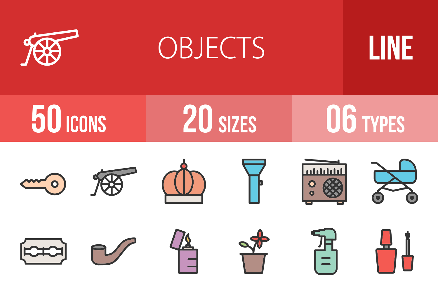 50 Objects Linear Multicolor Icons example image 1