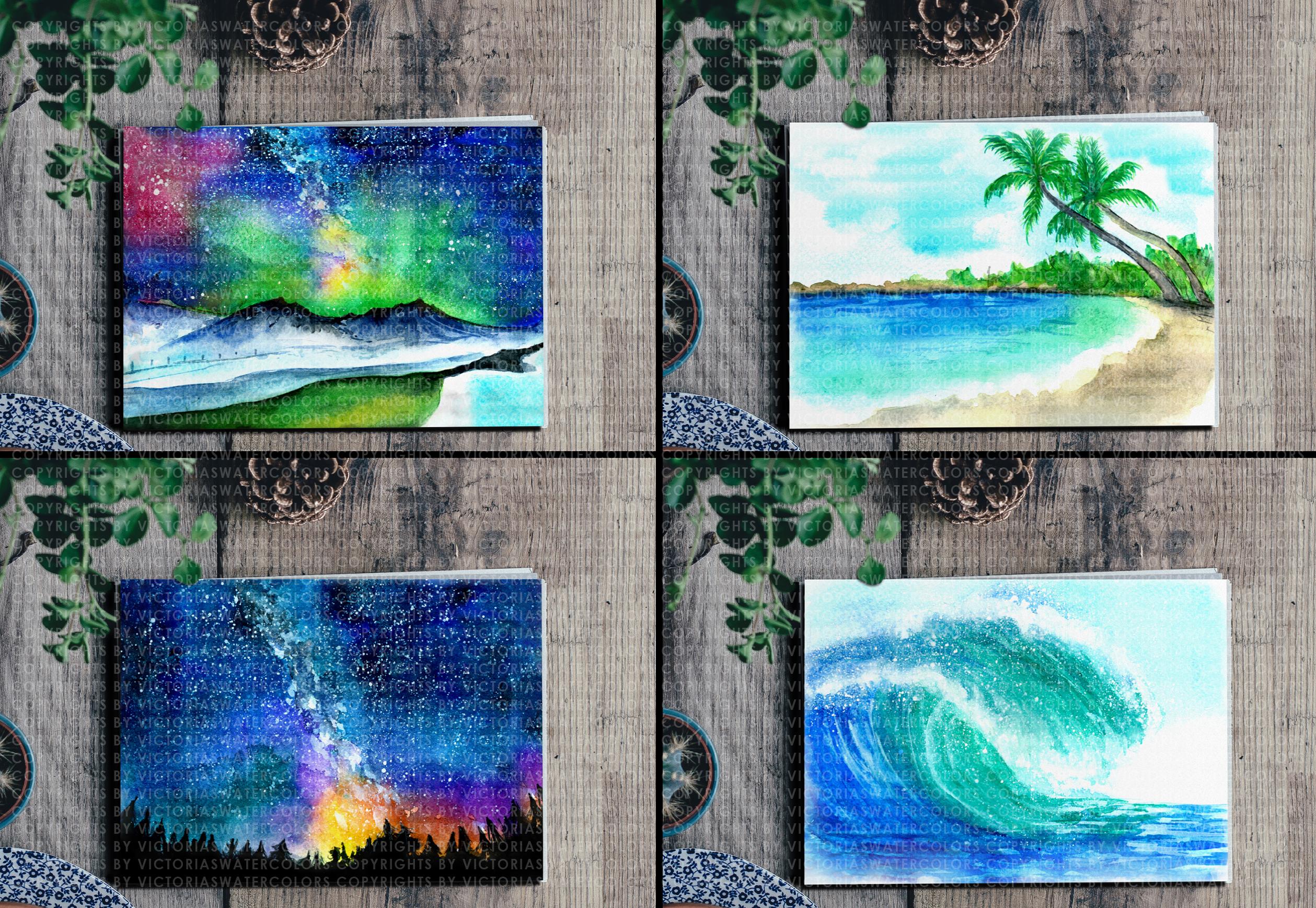 Watercolor Landscape Bundle Watercolor Beach Sunset Galaxy Texture Watercolor Farm Windmill example image 6