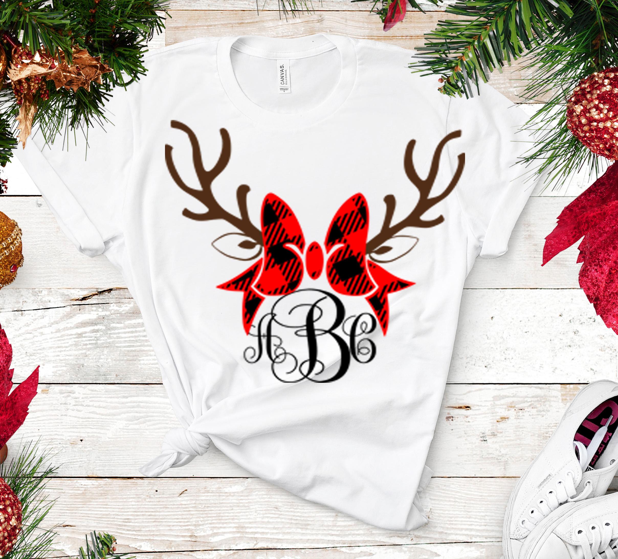 Plaid Antlers Bow monogram frame Deer SVG - Christmas SVG example image 2