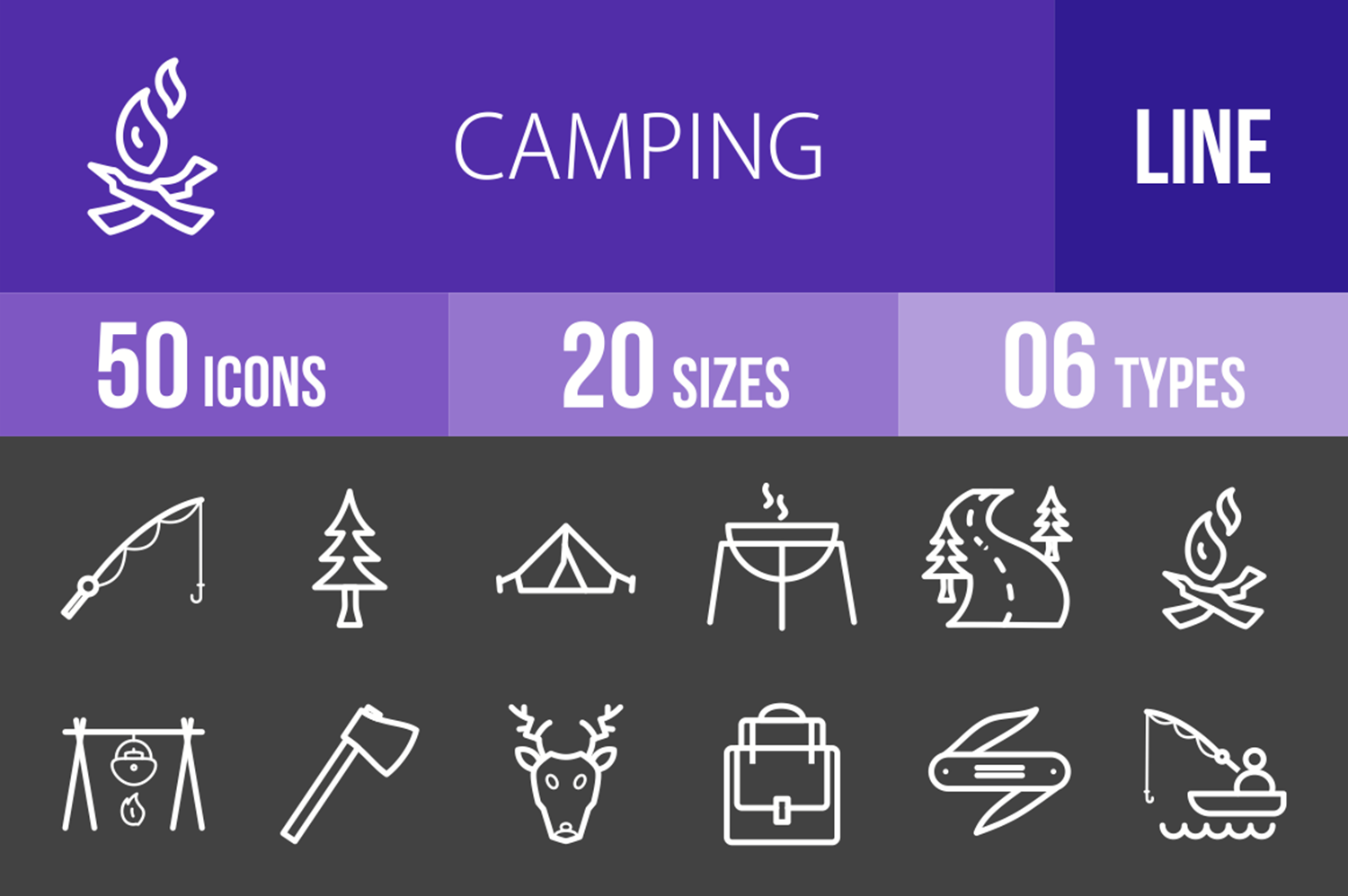 50 Camping Line Inverted Icons example image 1