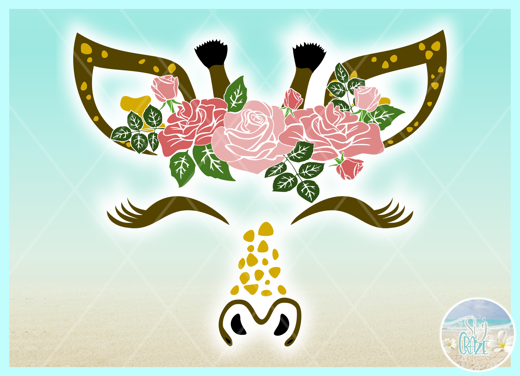 Giraffe Face with Roses Svg Dxf Eps Png Pdf Files example image 3