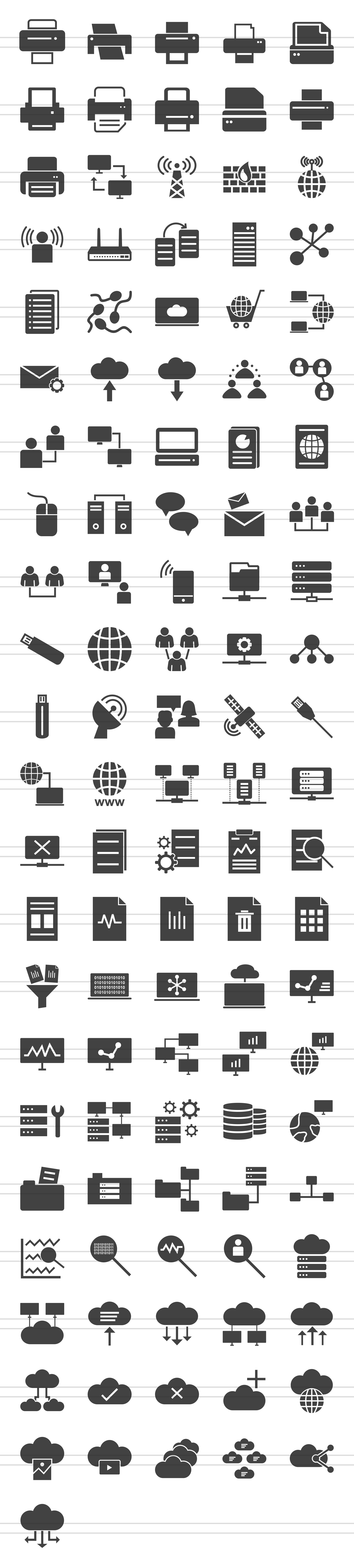 111 Networking & Printers Glyph Icons example image 2