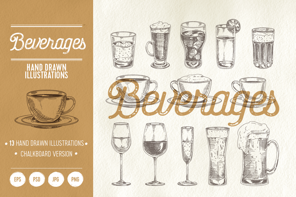 Hand drawn beverages example image 1