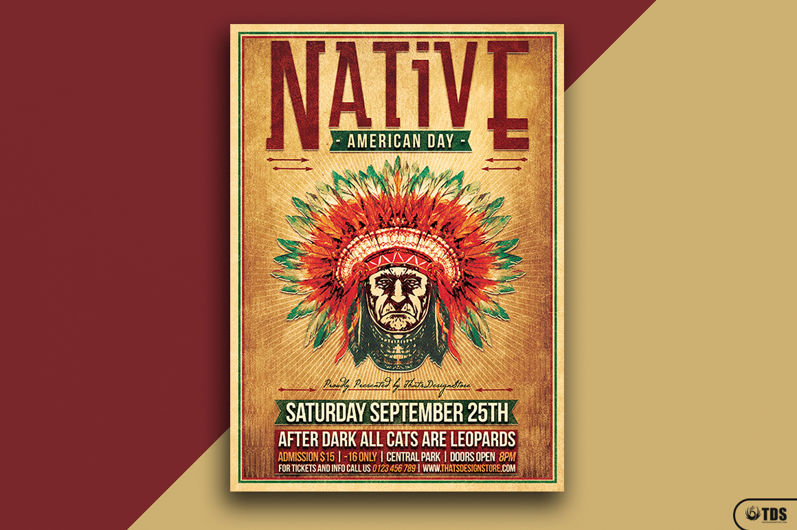 Native American Day Flyer Template example image 1
