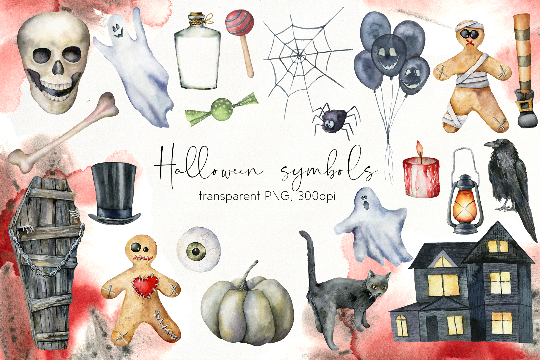 Halloween night. Watercolor clip art example image 3