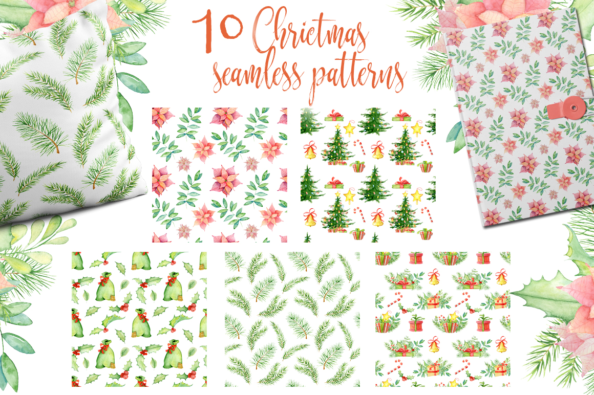 Christmas seamless patterns with pigs example image 3