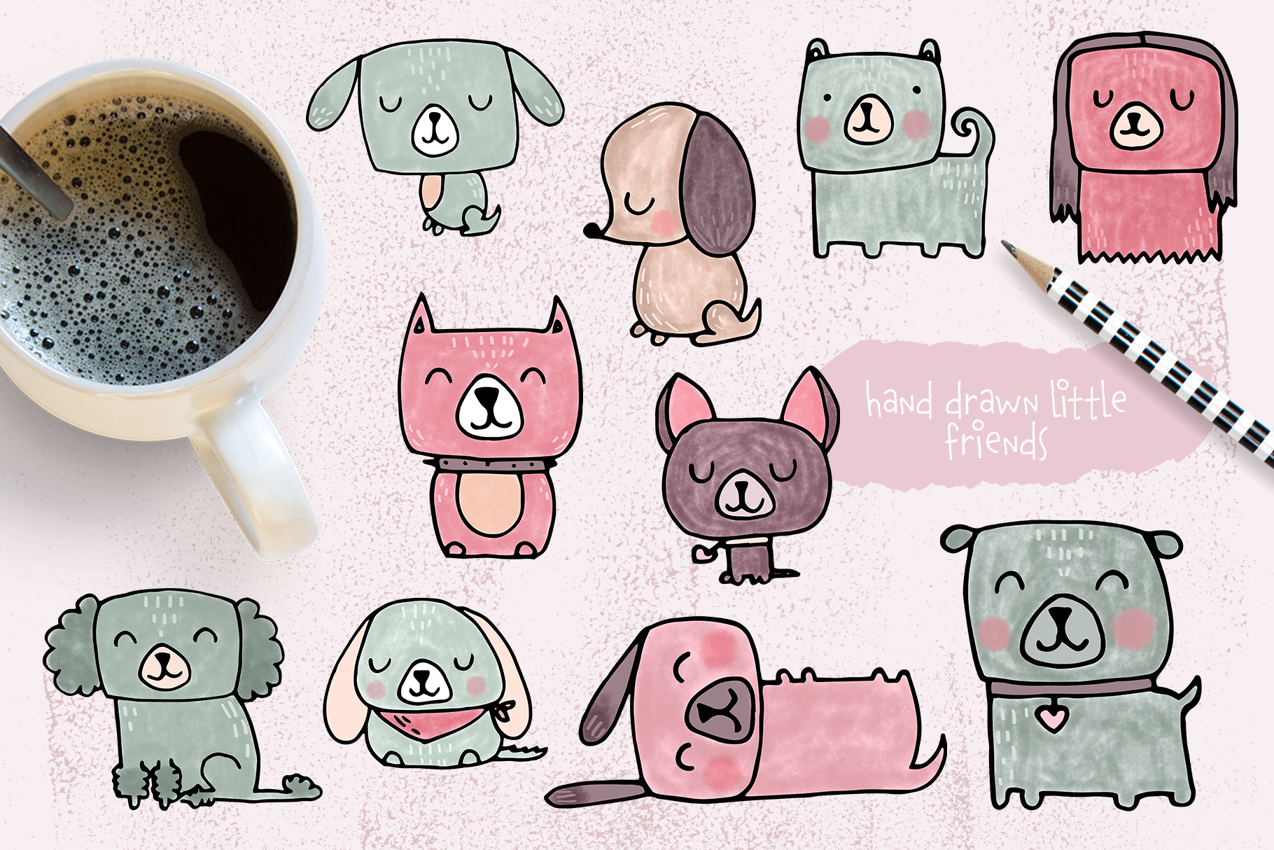Dog clipart and patterns collection example image 2