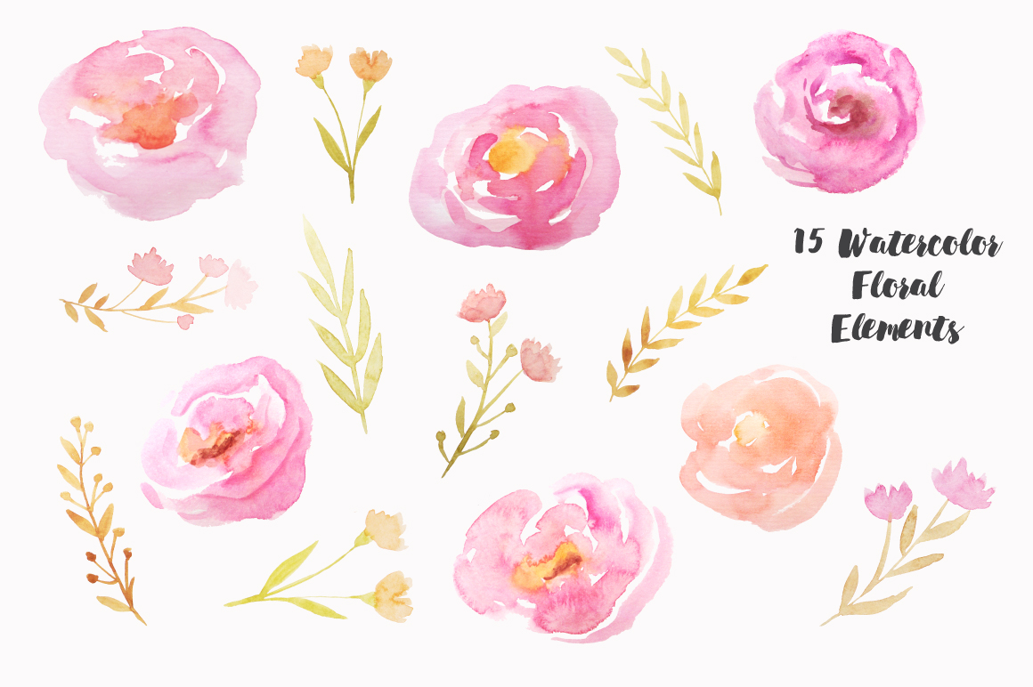 Watercolor Pink Floral Set example image 2