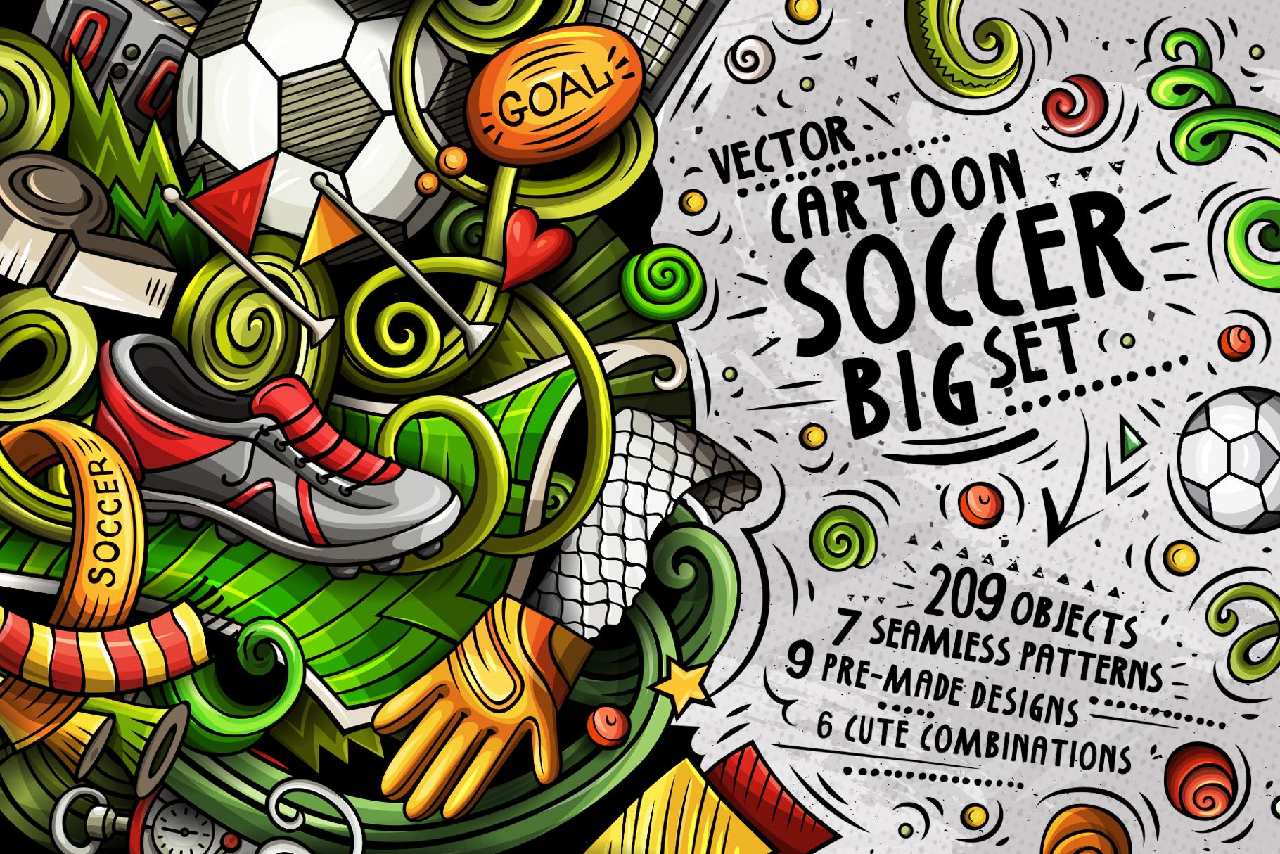 Soccer Cartoon Doodle Big Pack example image 1