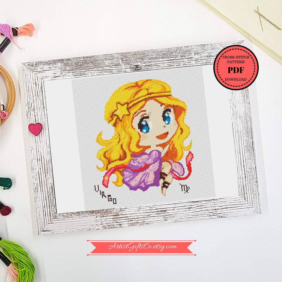 Cutest Virgo for September birthday cross stitch pattern PDF example image 4