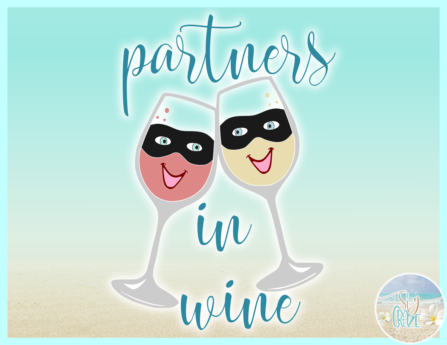 Partners In Wine Cute Funny Quote Saying SVG Eps Png PDF example image 3