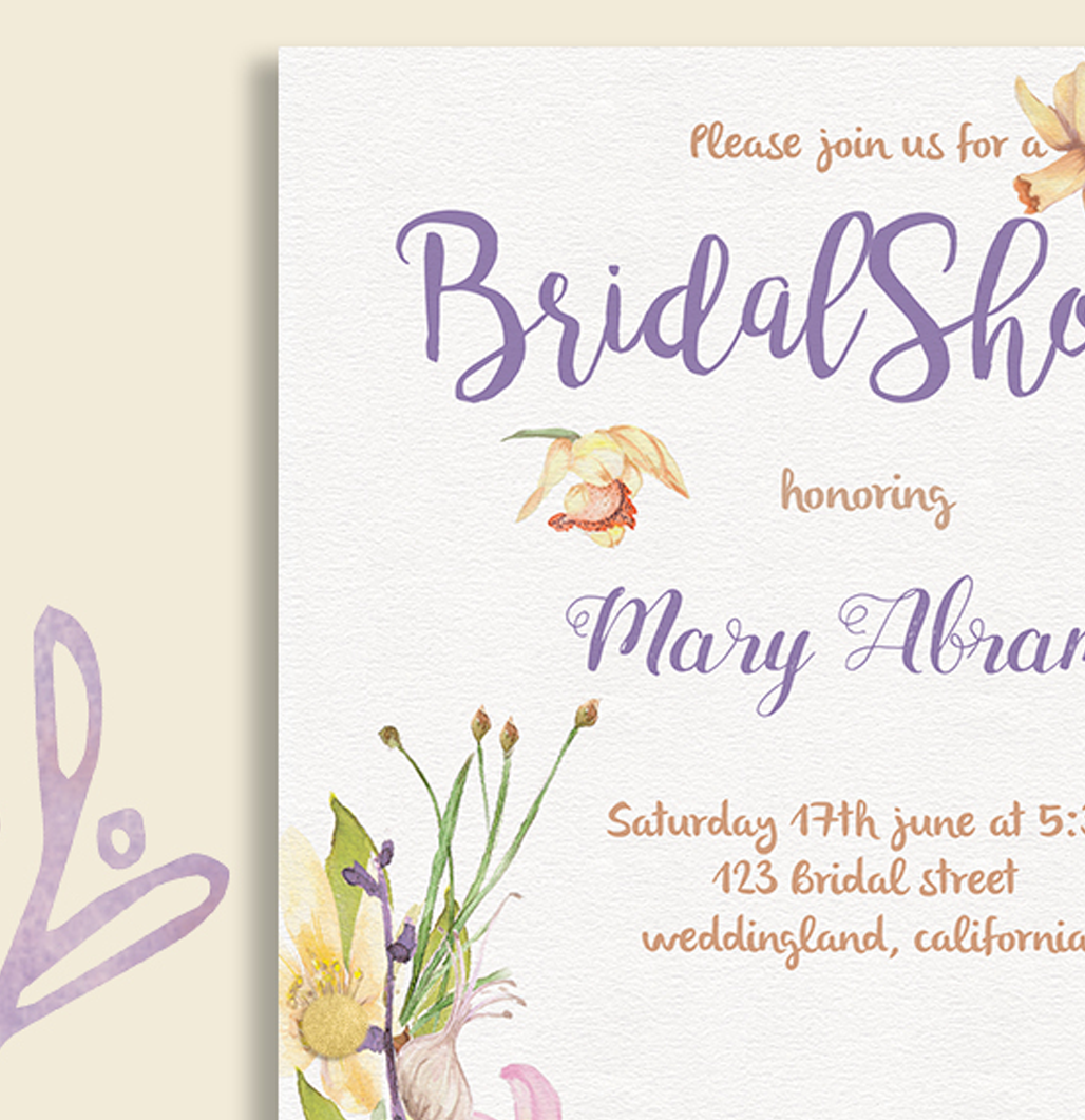 Floral Bridal Shower Invitation Card Template example image 2