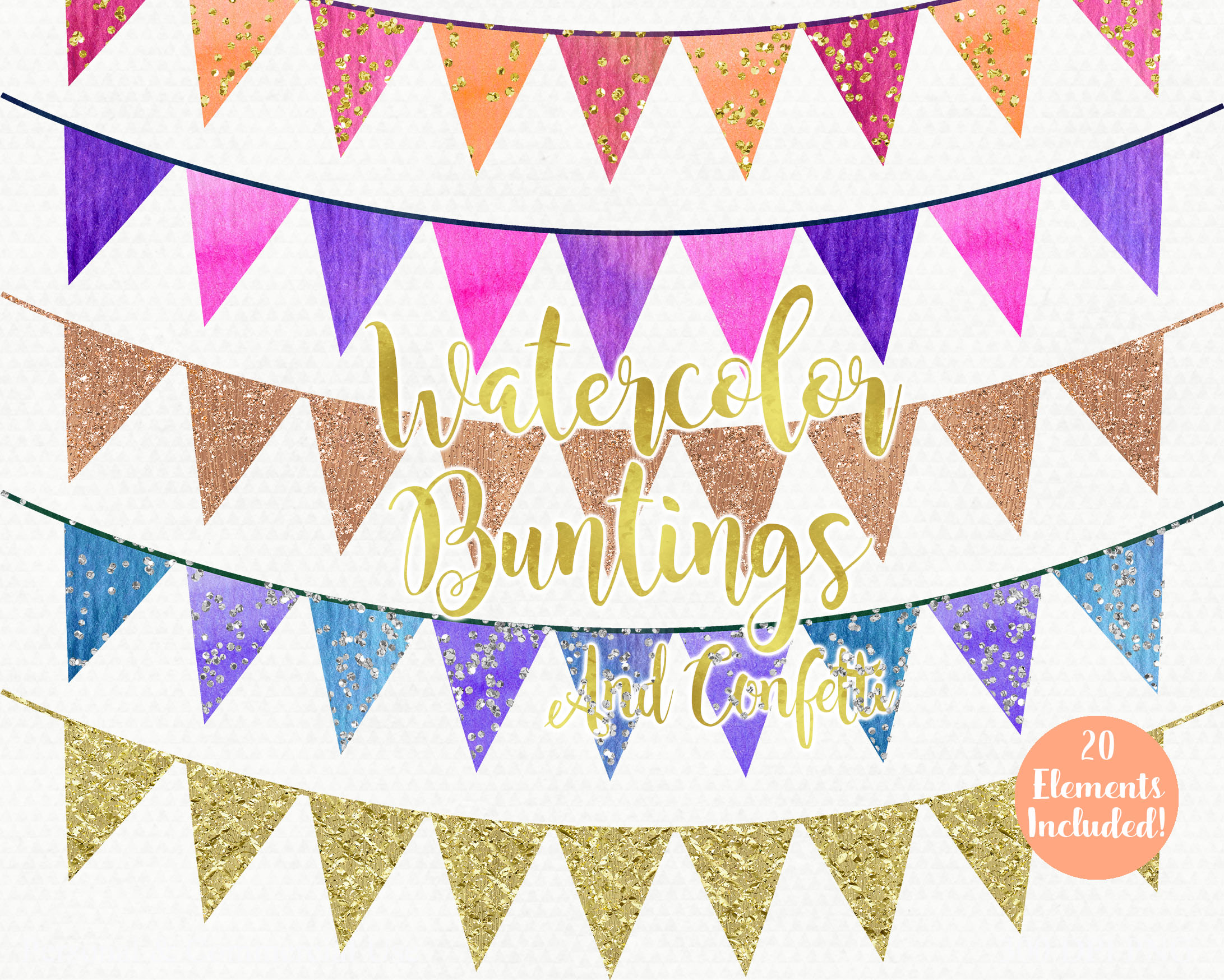 GOLD BUNTING BANNER Clipart Rainbow Watercolor Pennant ...