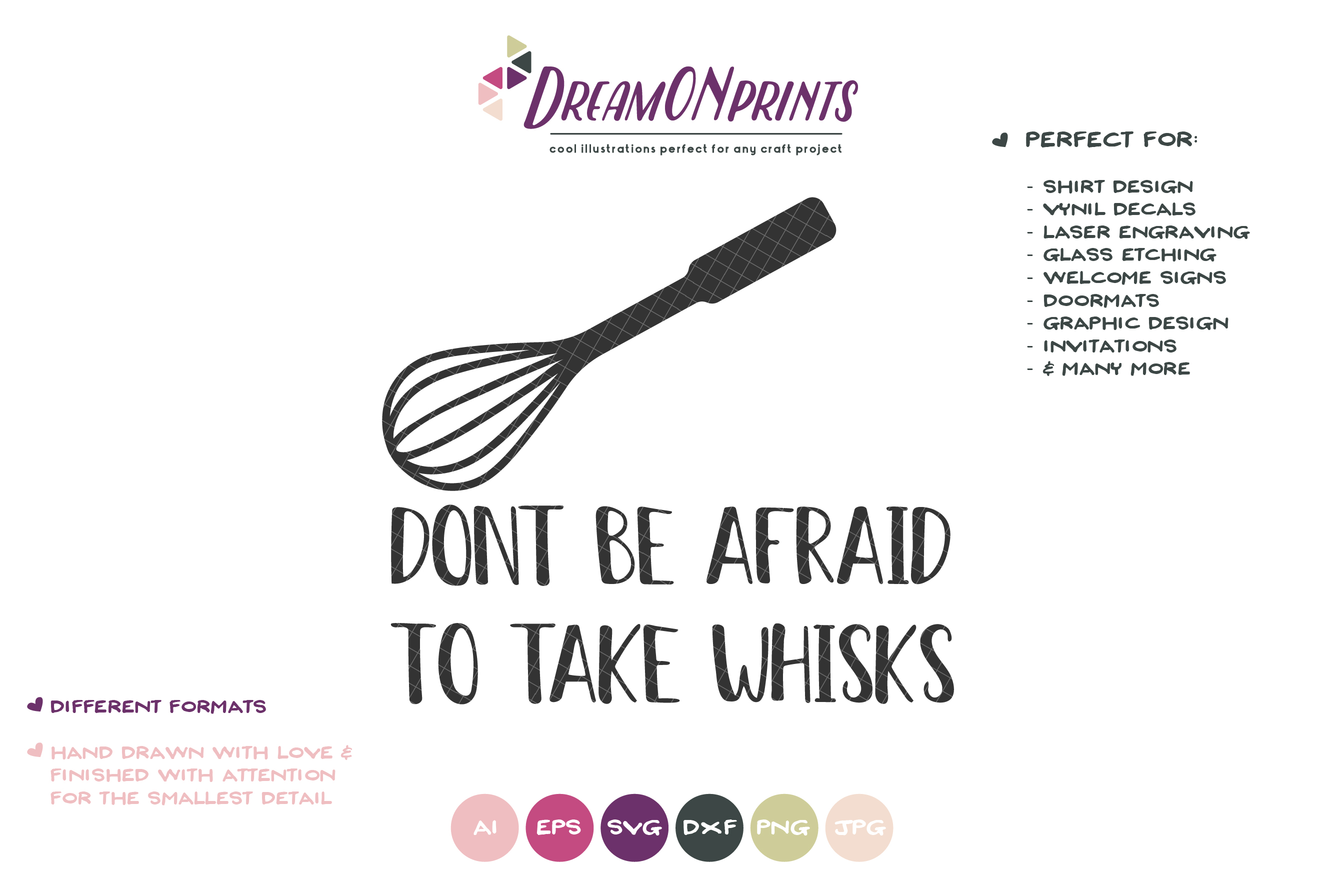 Don't Be Afraid to Take Whisks SVG - Kitchen SVG example image 2