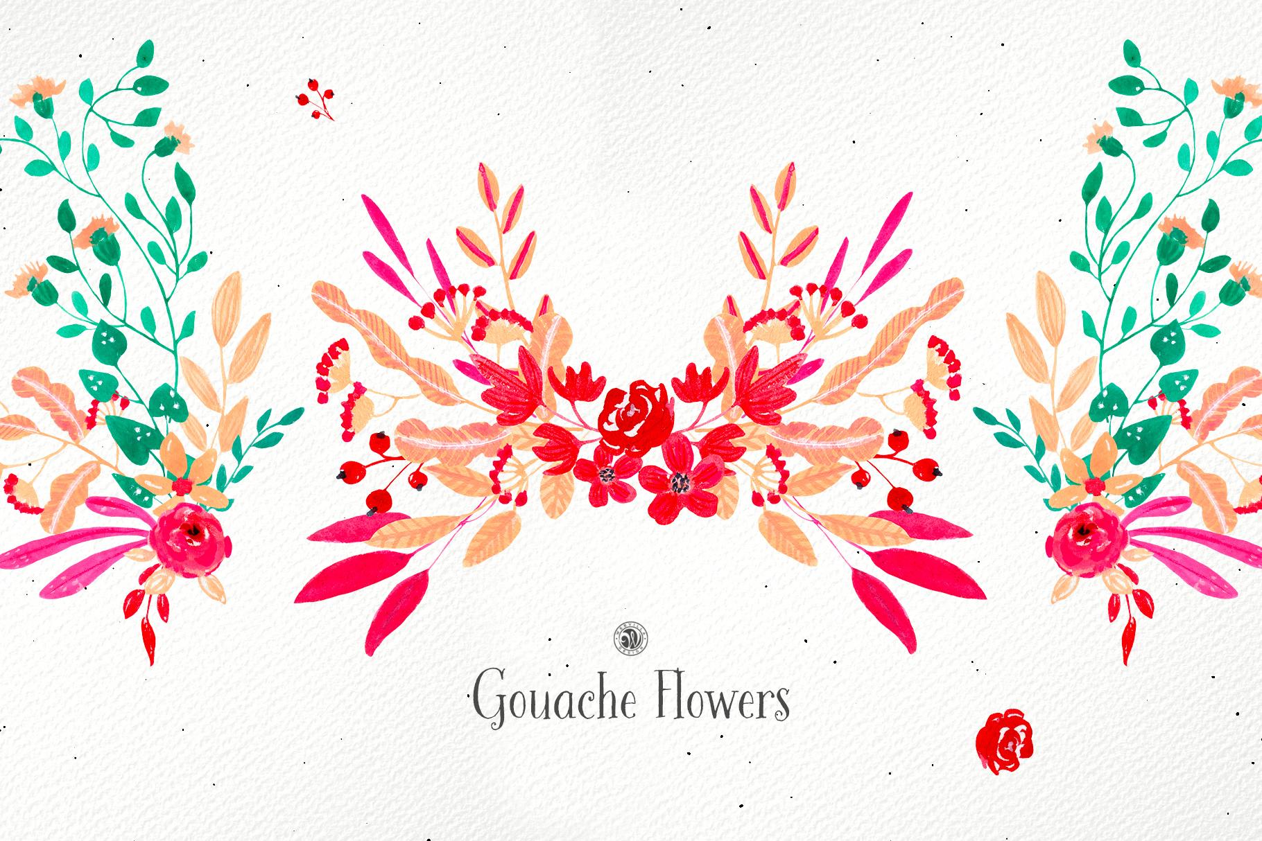 Gouache Flowers example image 2
