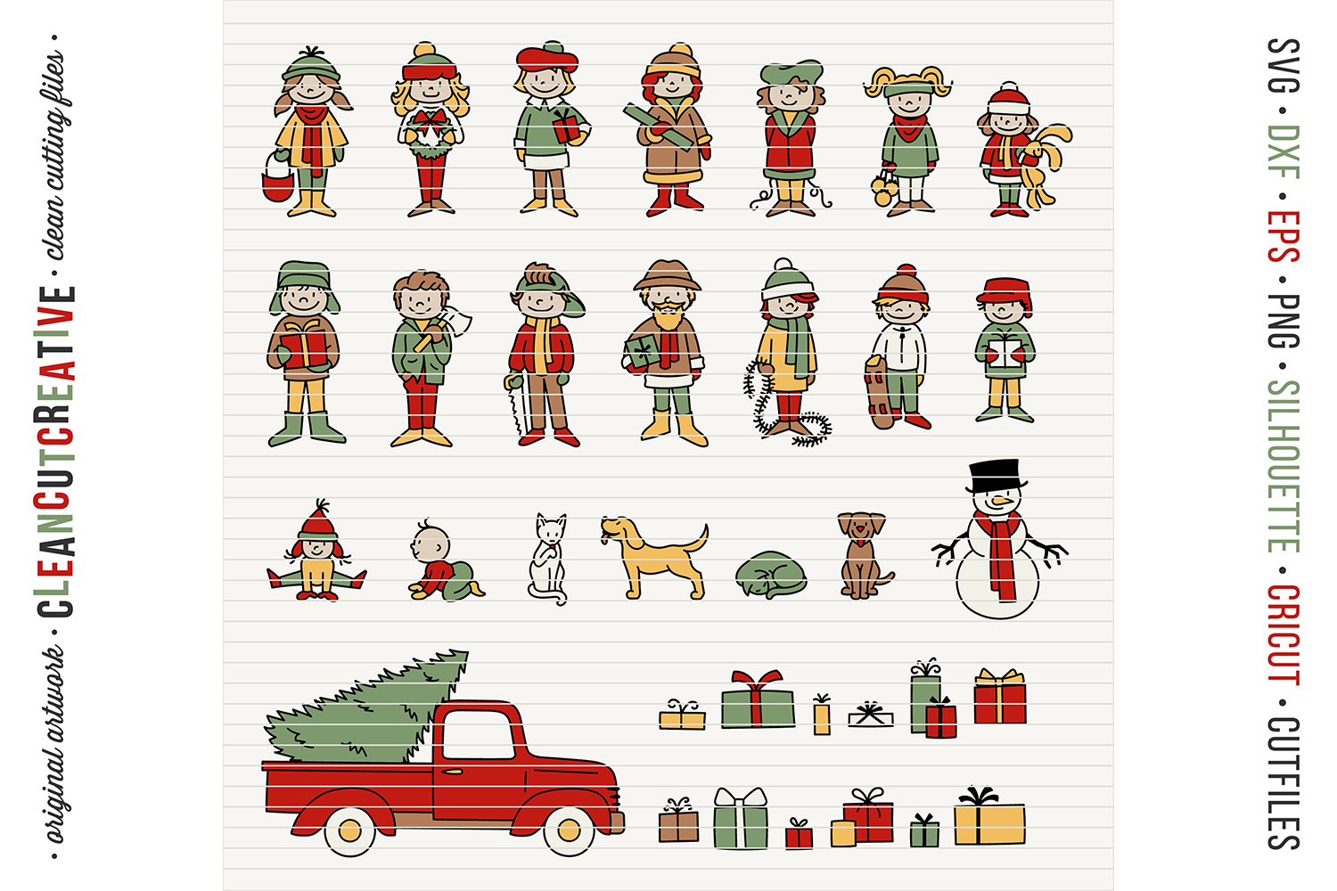 Cute Christmas Clan - Family Characters svg cutfiles vector example image 6
